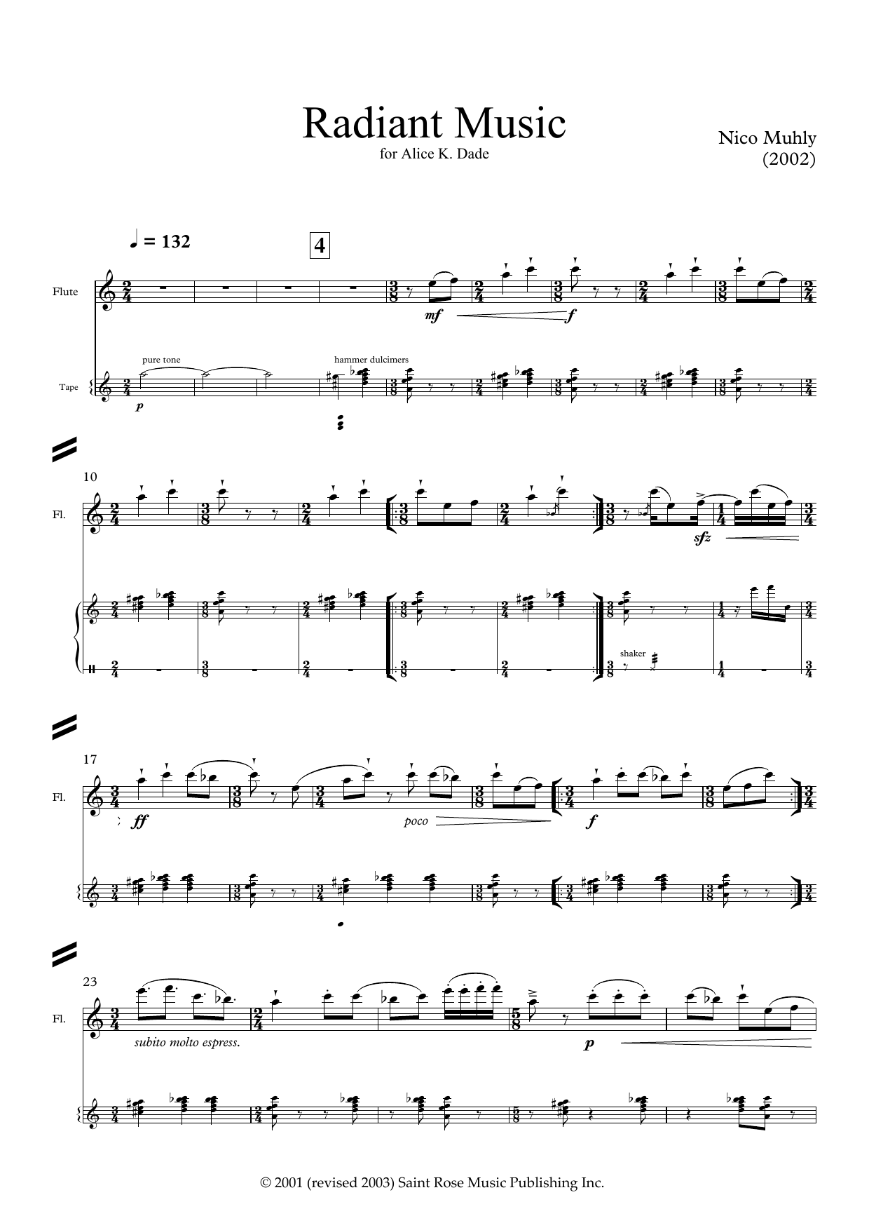 Radiant Music (for flute and electronics) Sheet Music