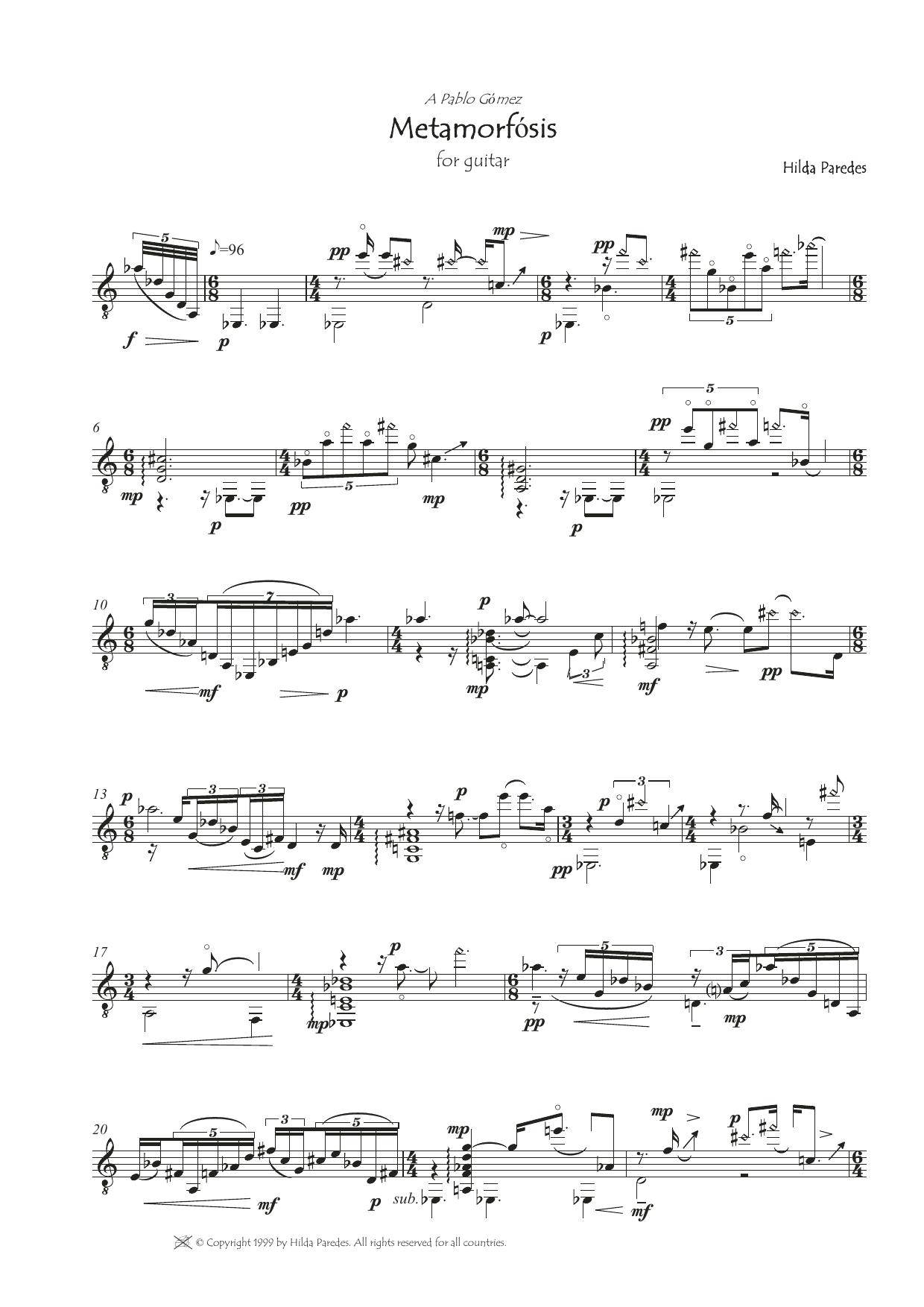 Metamorfosis Sheet Music