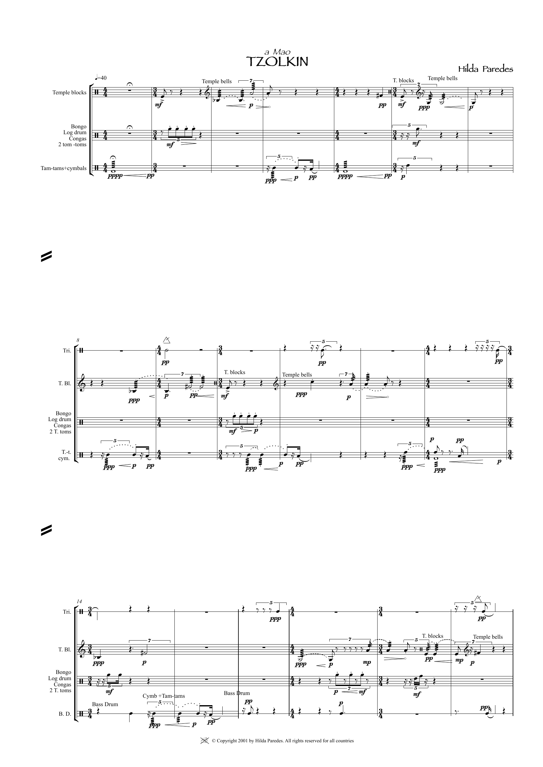 Tzolkin Sheet Music