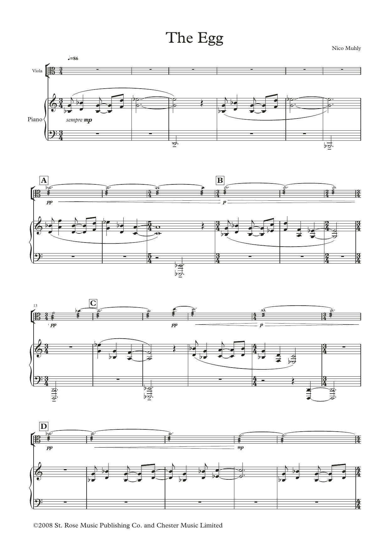 The Reader: Three Arrangements for Viola and Piano (score and parts) Sheet Music