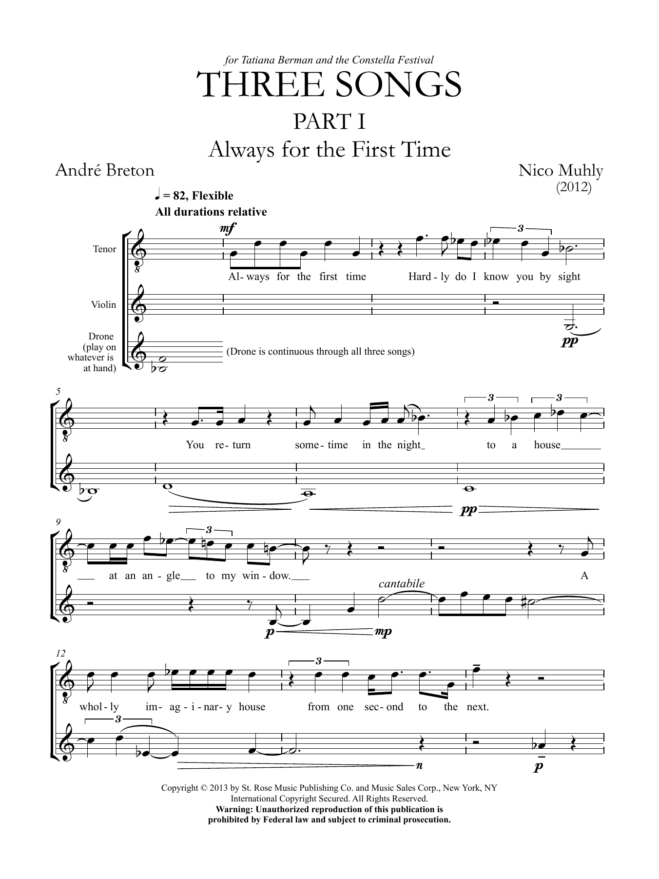 Three Songs for Tenor, Violin and Drone Sheet Music