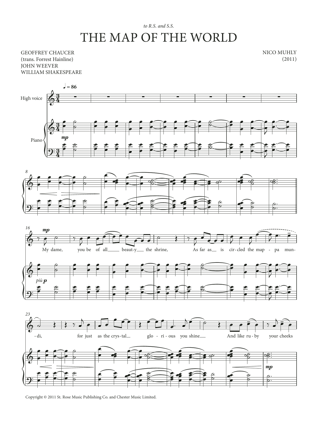 Map Of The World Sheet Music