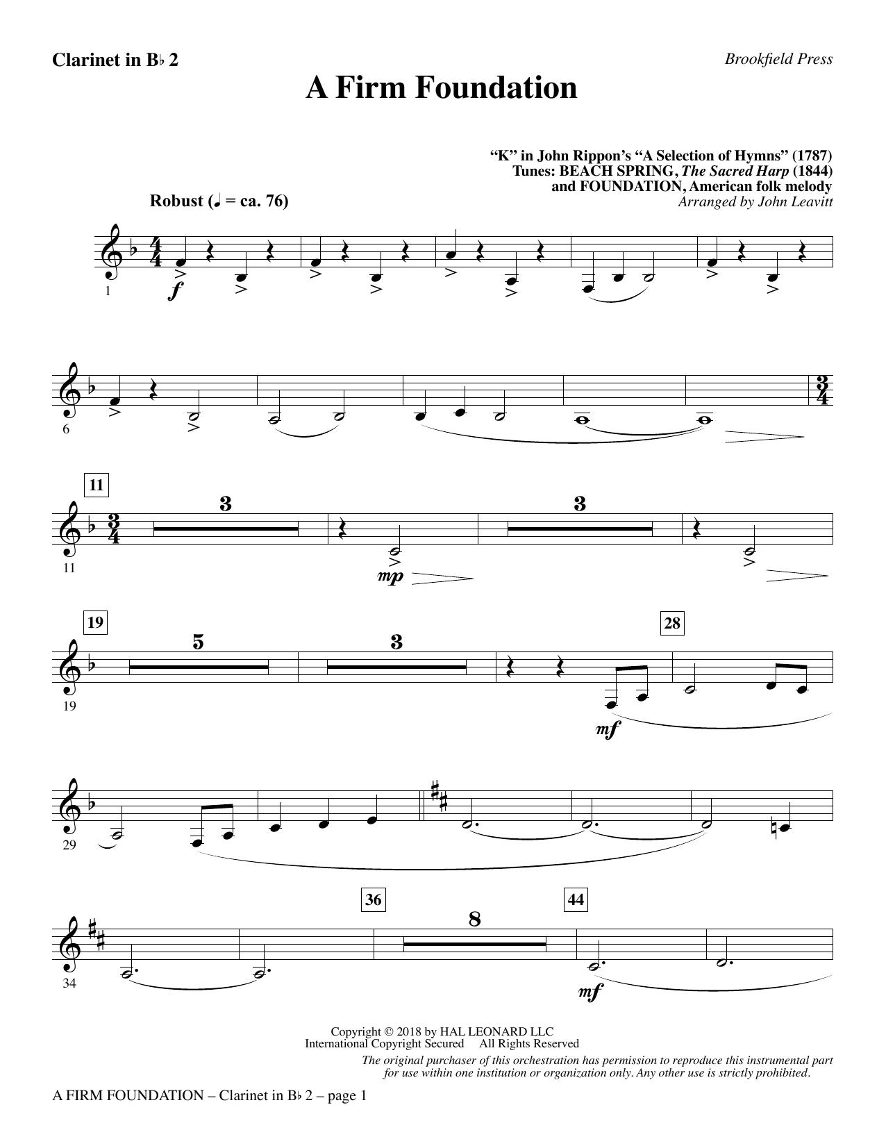 A Firm Foundation - Bb Clarinet 2 (Choir Instrumental Pak)
