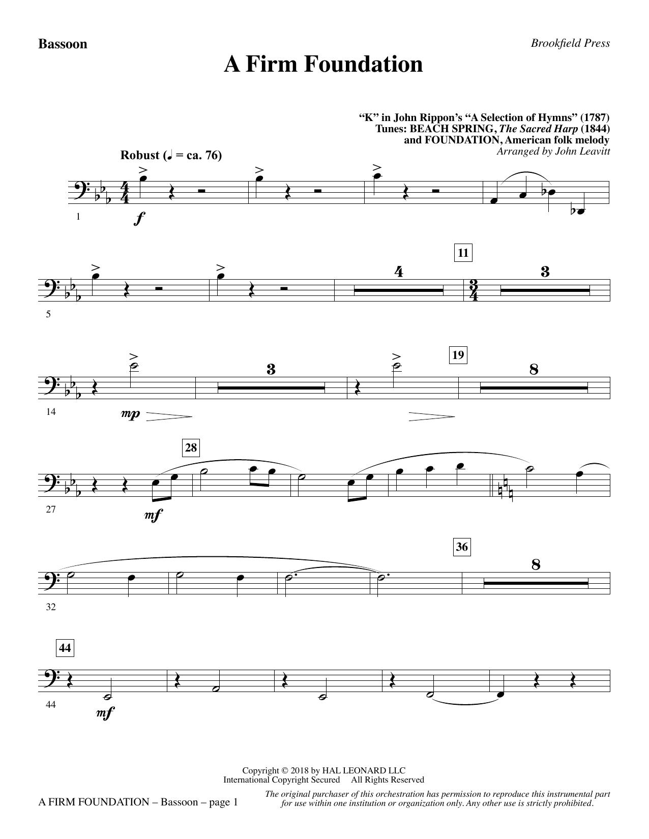 A Firm Foundation - Bassoon (Choir Instrumental Pak)