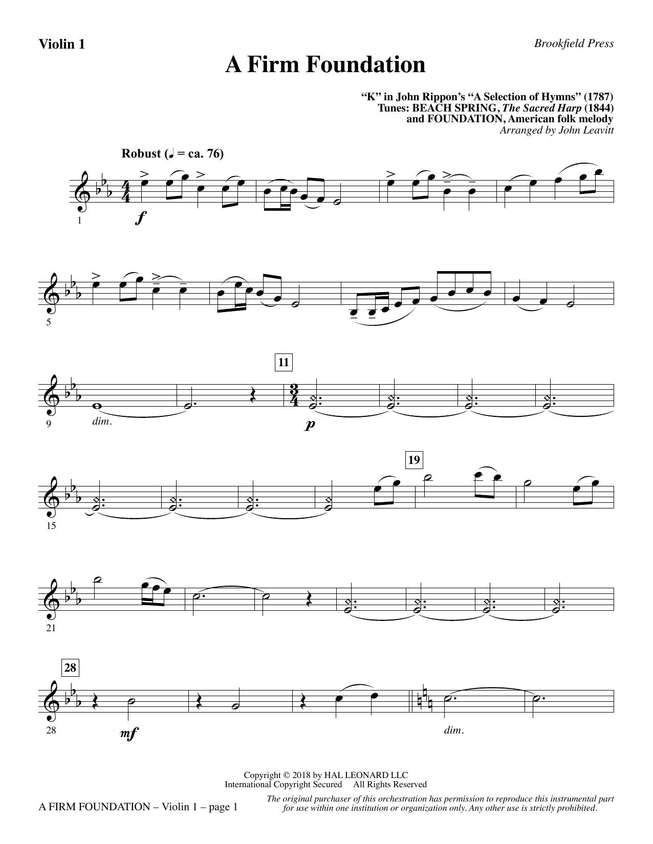 A Firm Foundation - Violin 1 (Choir Instrumental Pak)