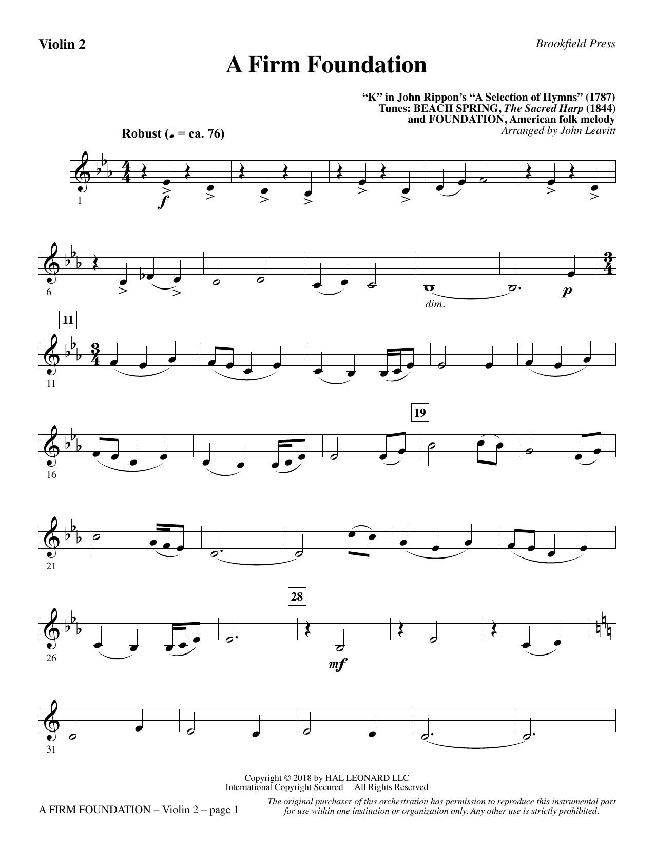 A Firm Foundation - Violin 2 (Choir Instrumental Pak)