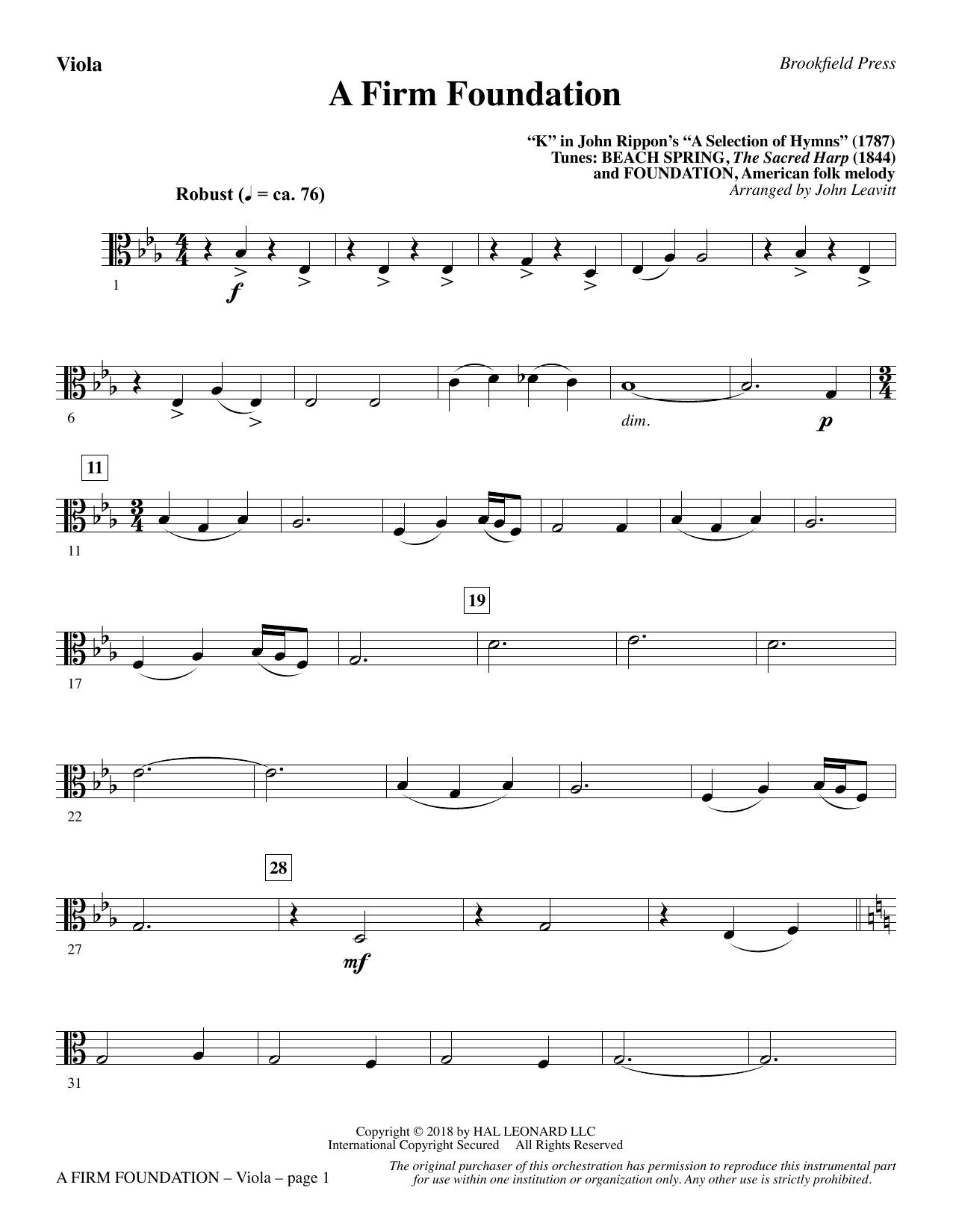 A Firm Foundation - Viola (Choir Instrumental Pak)