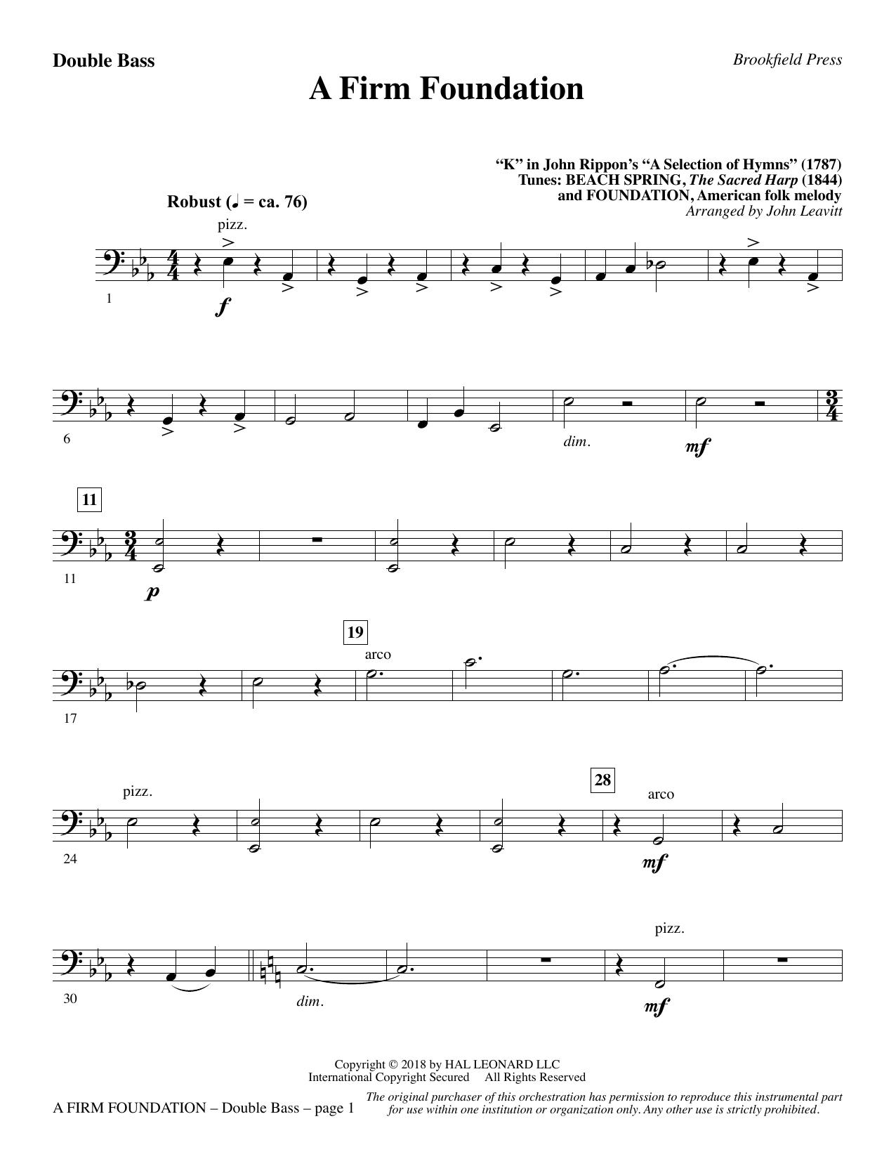 A Firm Foundation - Double Bass (Choir Instrumental Pak)