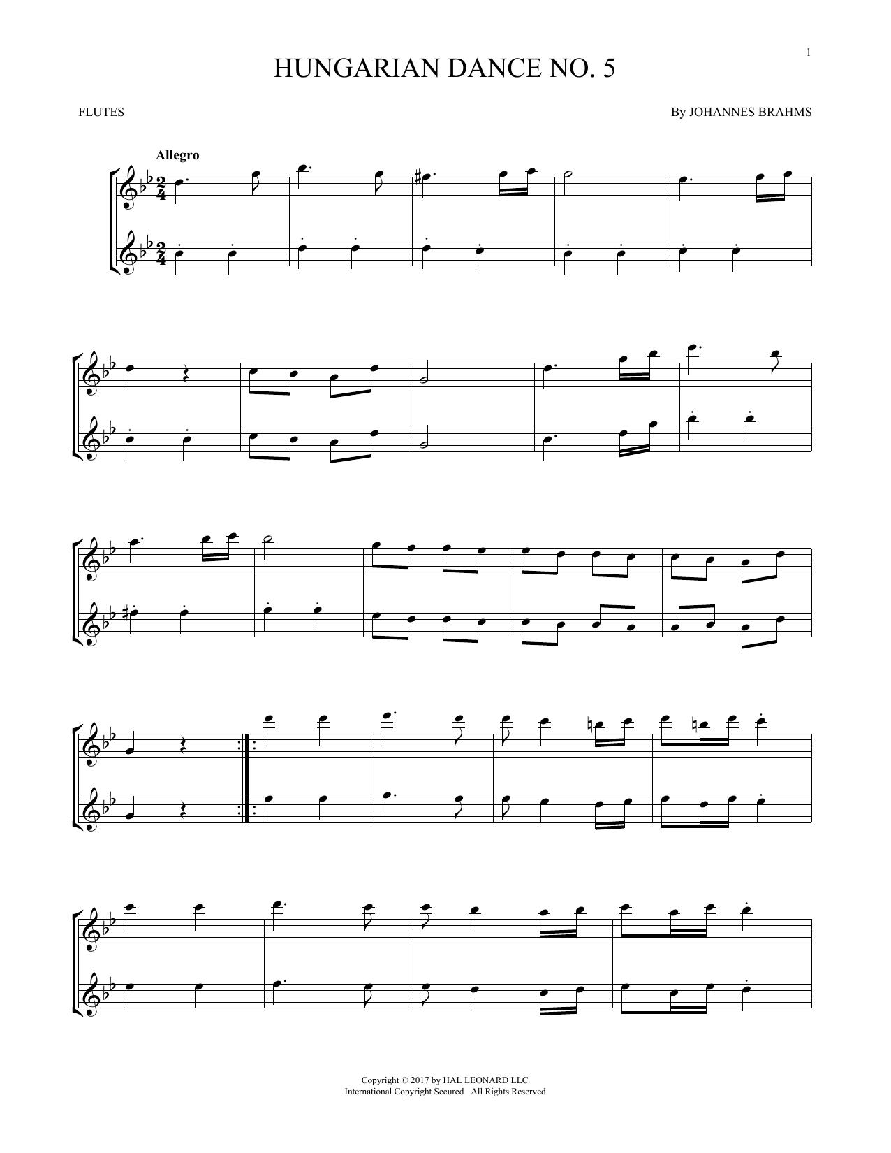 Hungarian Dance No. 5 (Flute Duet)