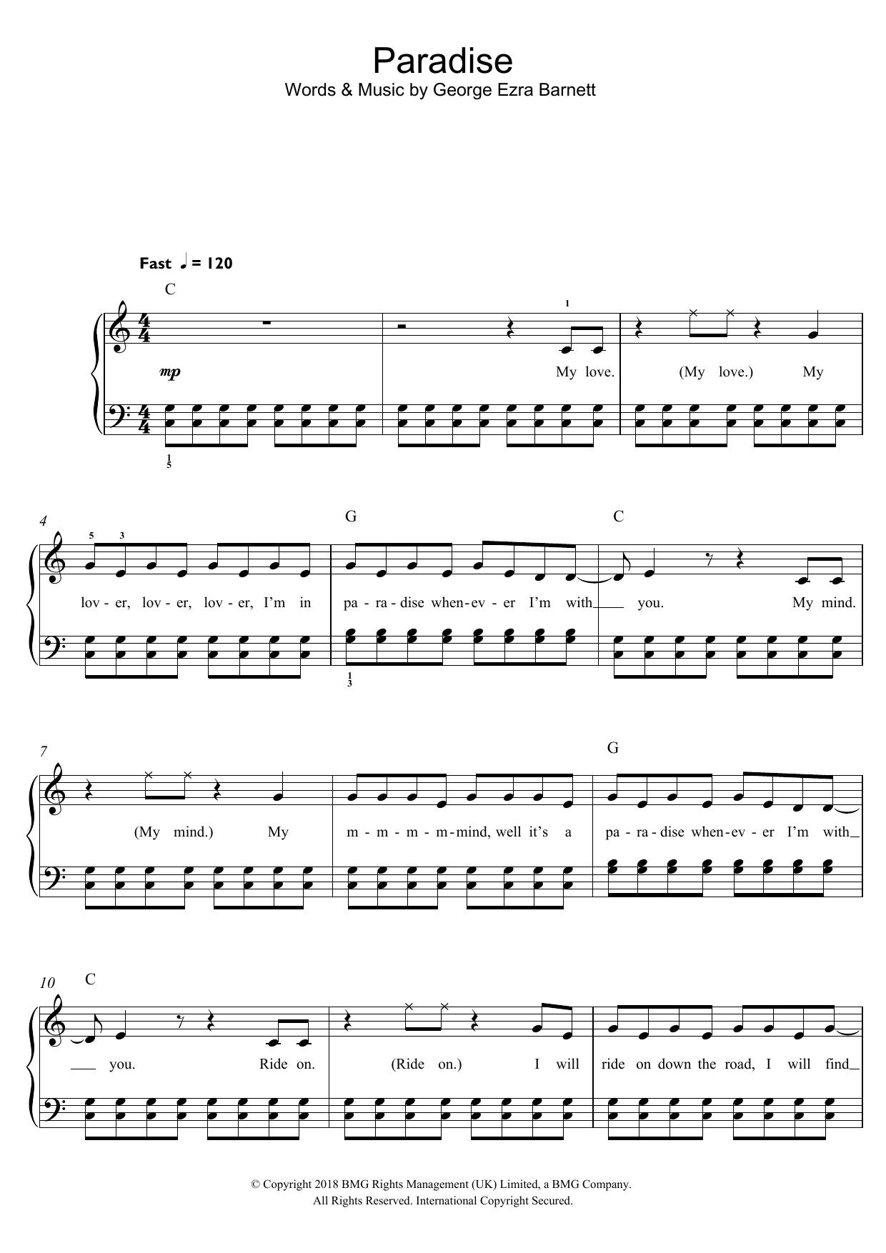 Paradise (Beginner Piano)