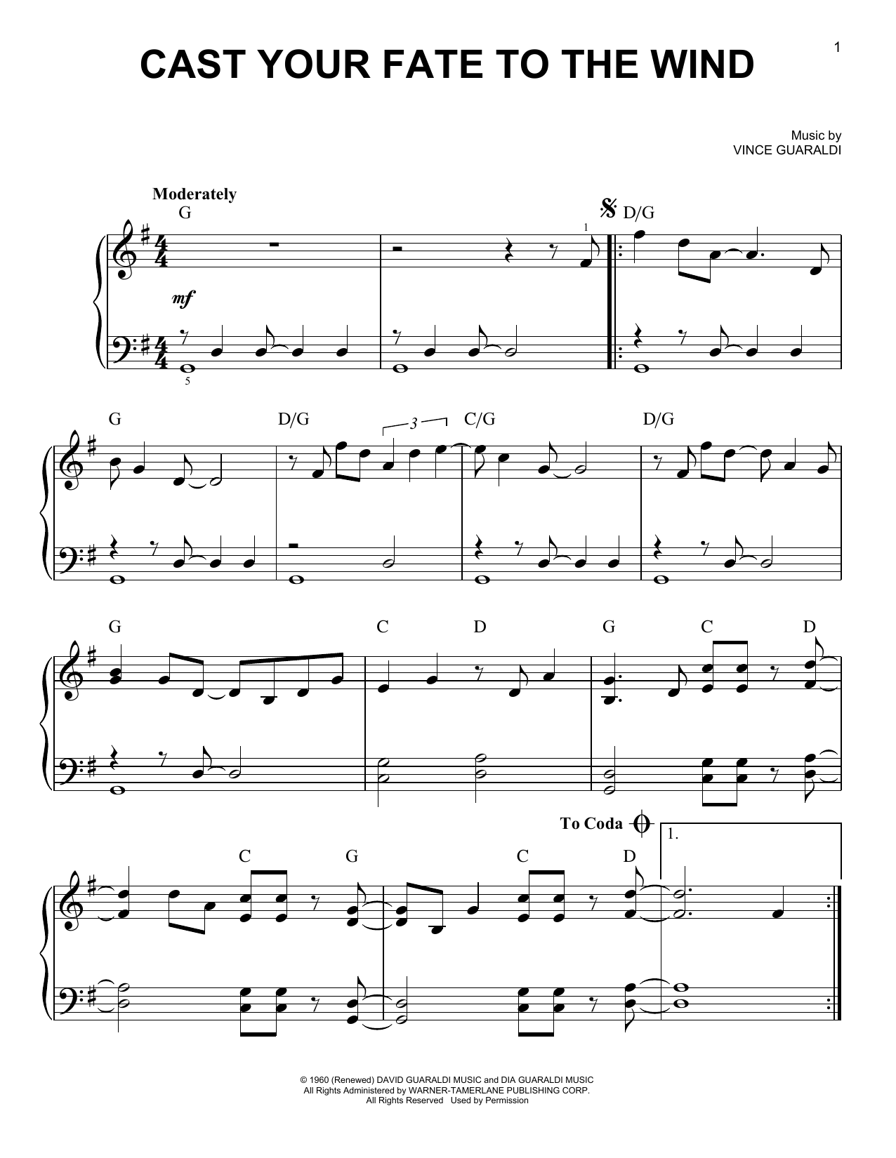 Cast Your Fate To The Wind (Very Easy Piano)
