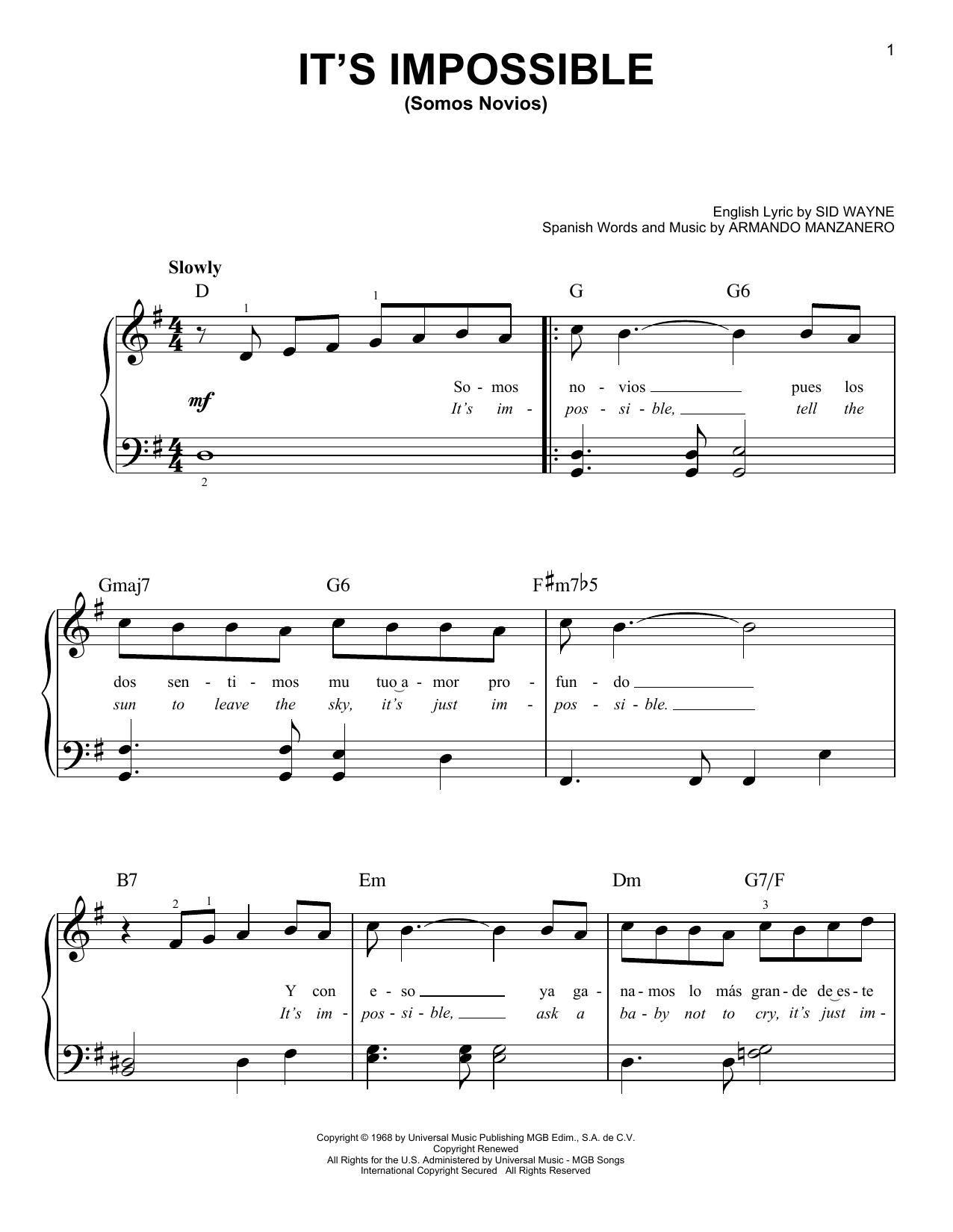 It's Impossible (Somos Novios) (Very Easy Piano)