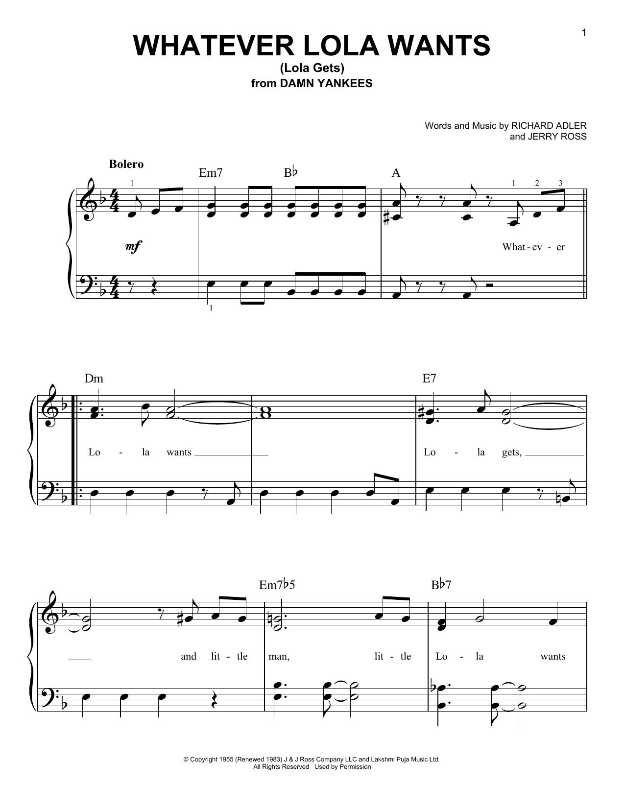 Whatever Lola Wants (Lola Gets) (Very Easy Piano)