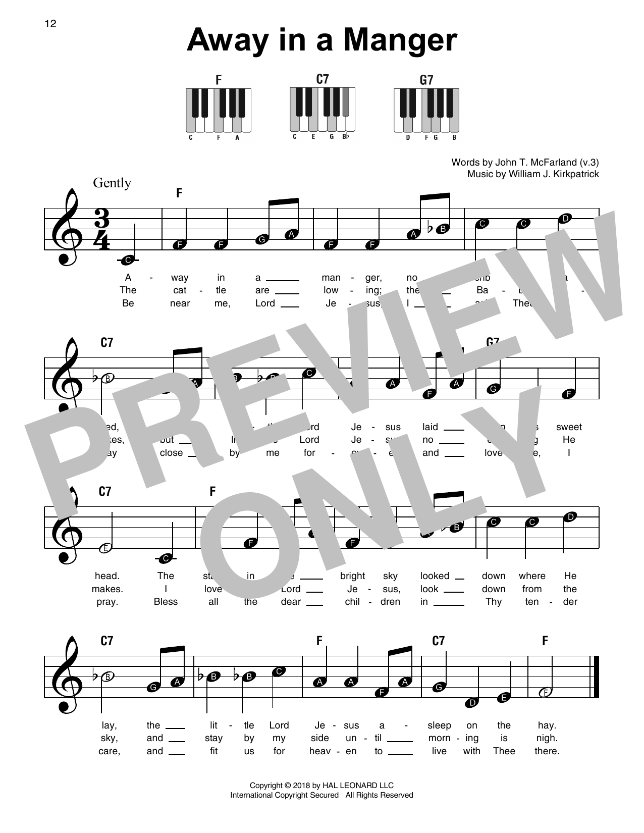 Away In A Manger (Super Easy Piano)