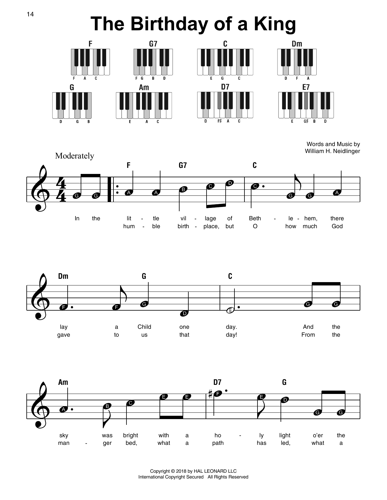 The Birthday Of A King (Super Easy Piano)