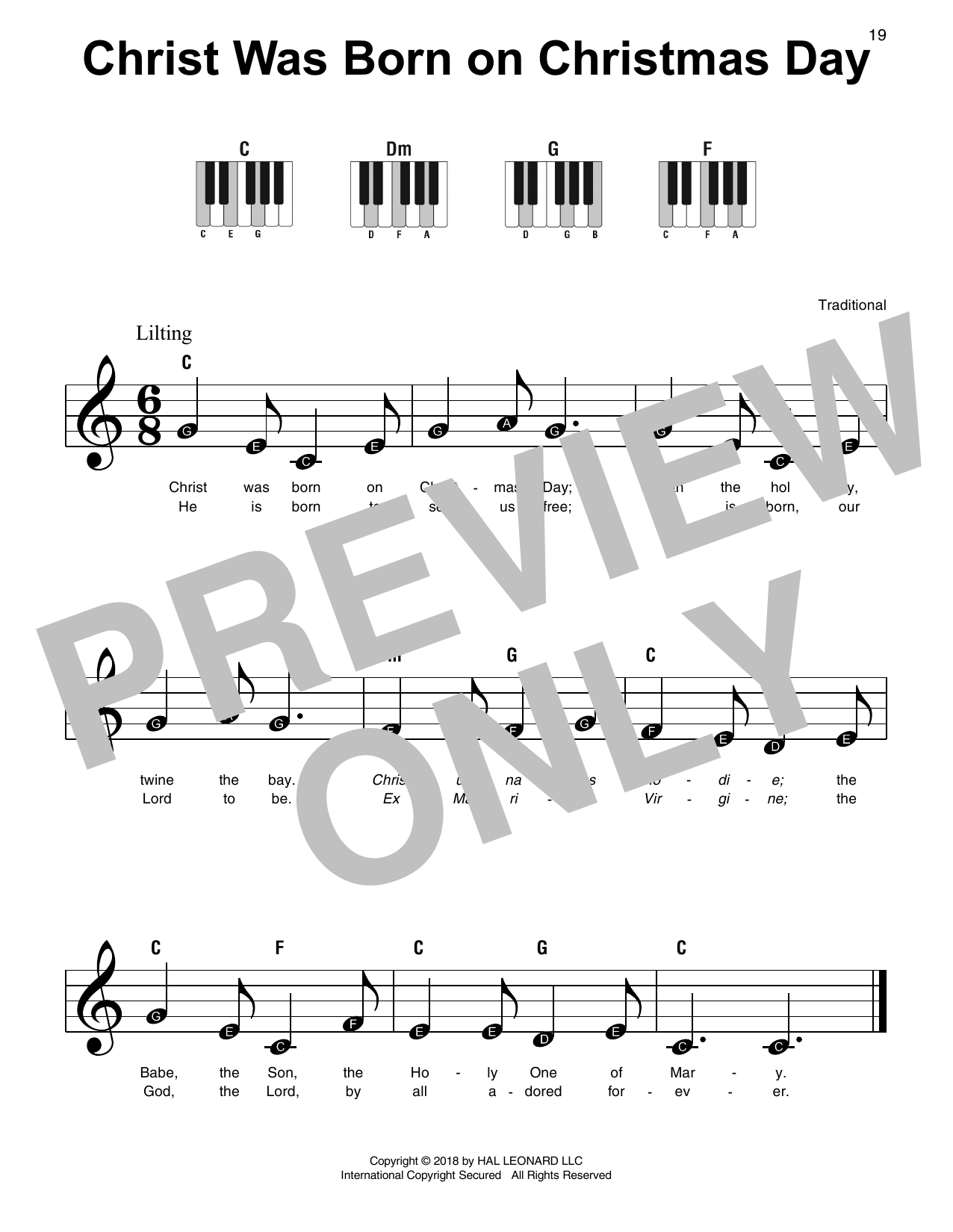 Christ Was Born On Christmas Day (Super Easy Piano)