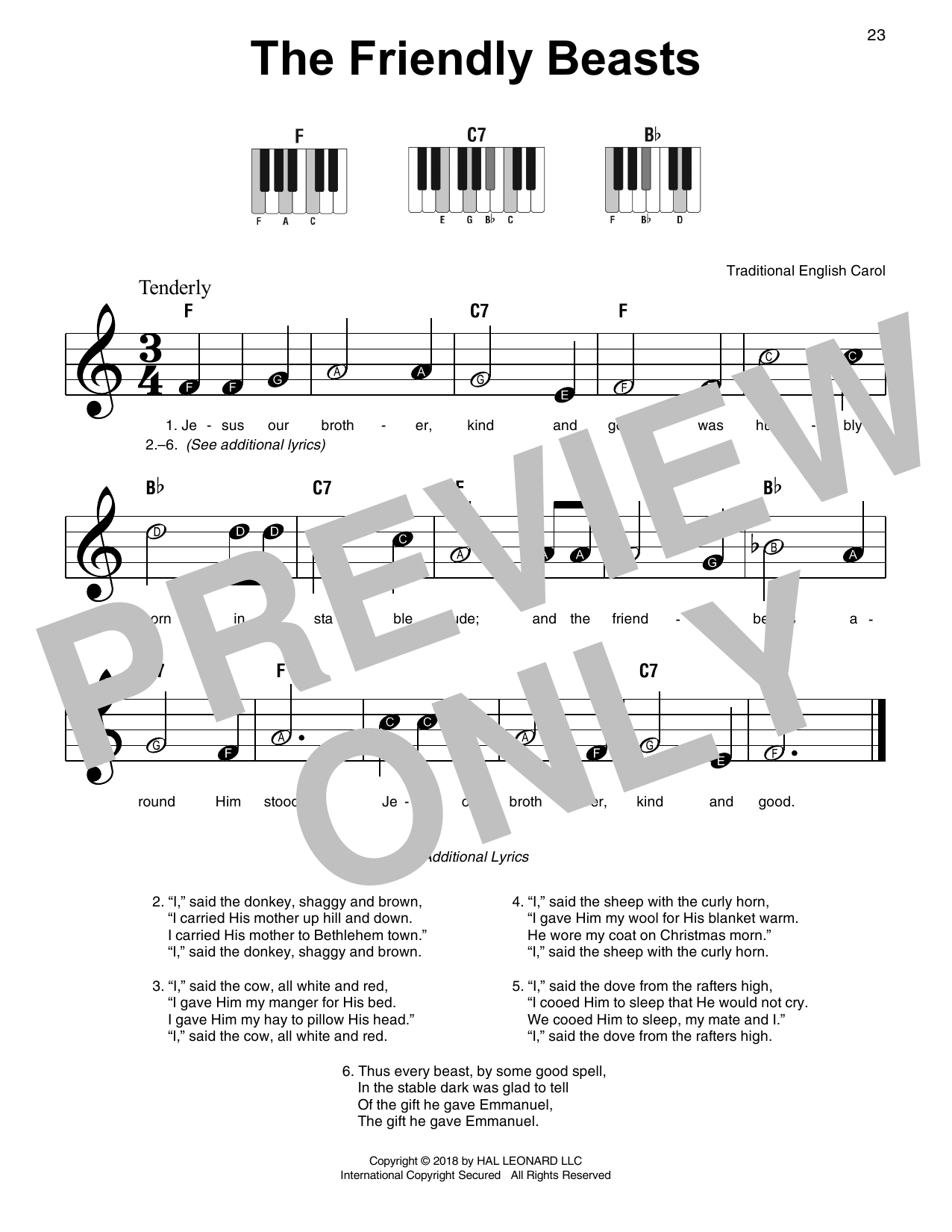 The Friendly Beasts (Super Easy Piano)