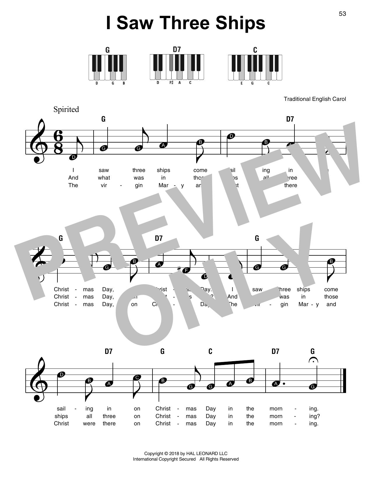 I Saw Three Ships (Super Easy Piano)