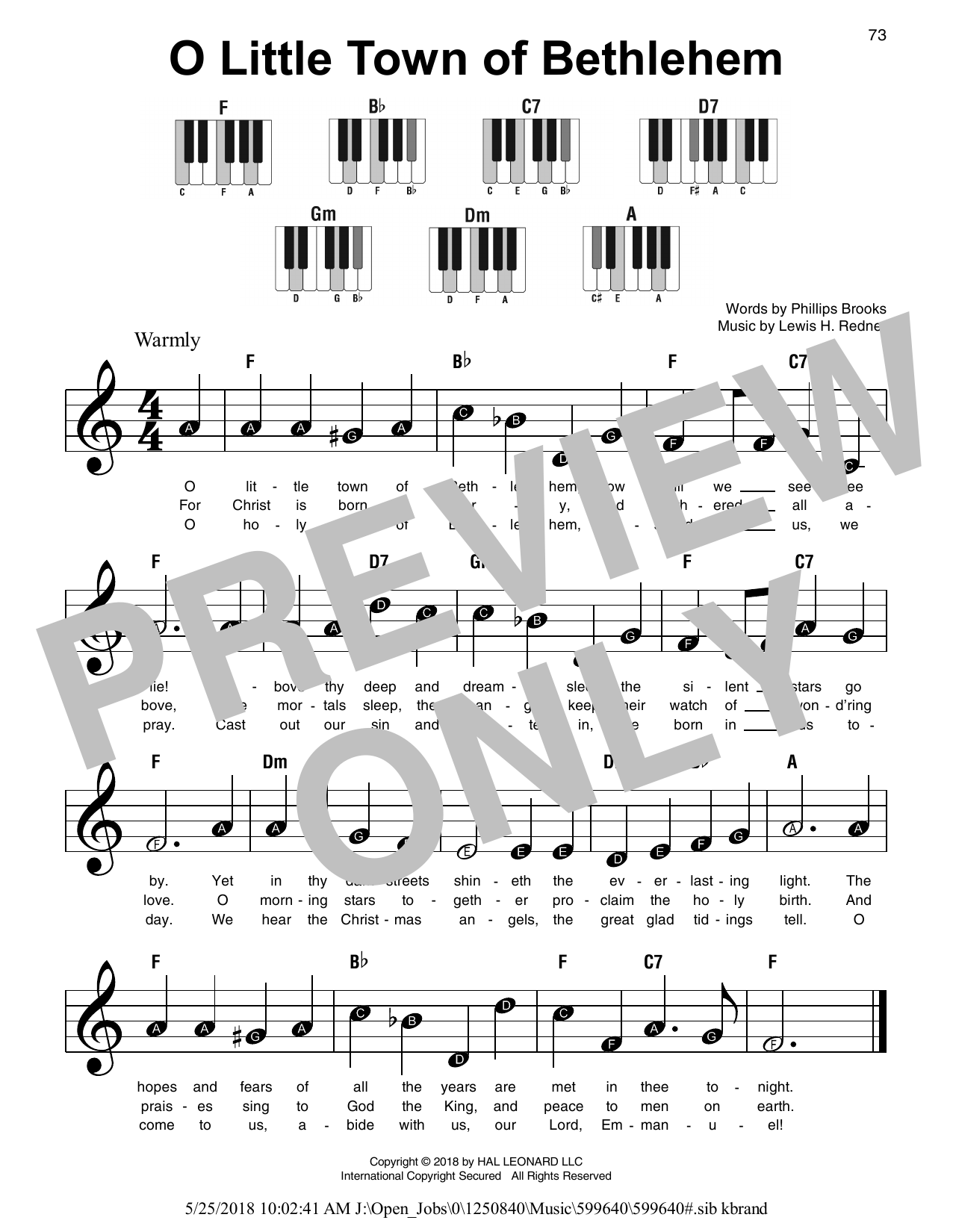 O Little Town Of Bethlehem (Super Easy Piano)