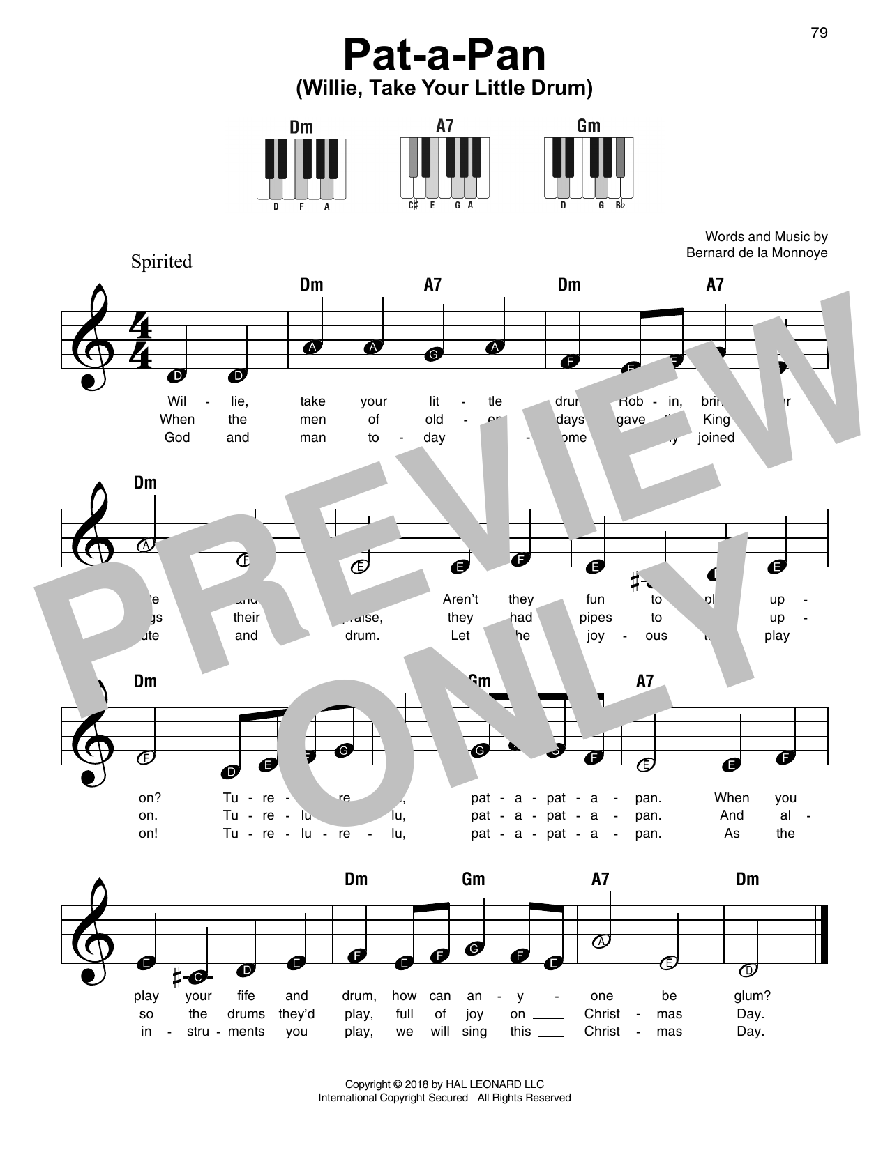 Pat-A-Pan (Willie, Take Your Little Drum) Sheet Music