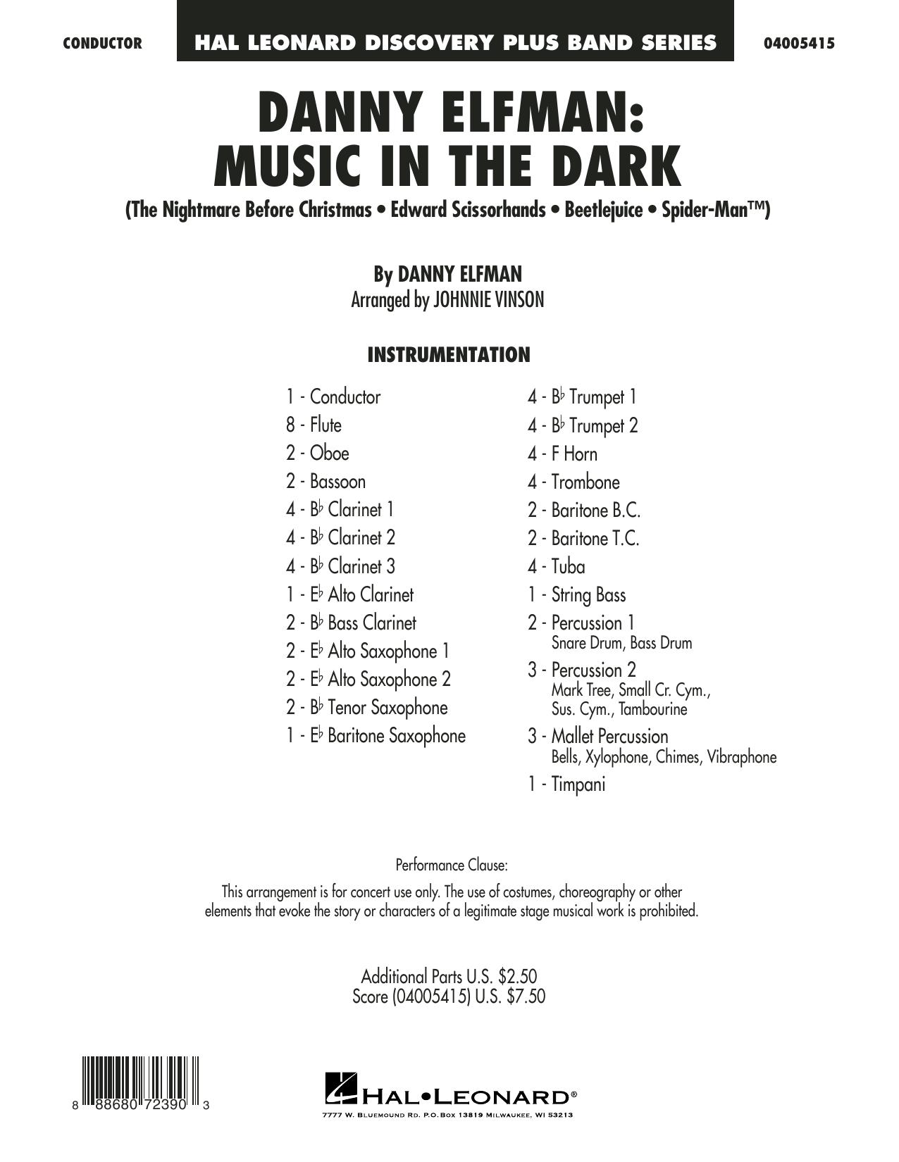 Danny Elfman: Music in the Dark - Conductor Score (Full Score) (Concert Band)