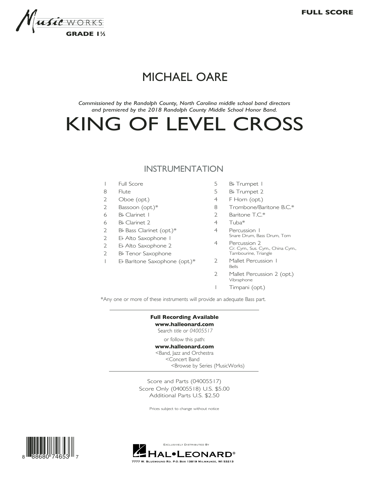 King of Level Cross - Conductor Score (Full Score) (Concert Band)