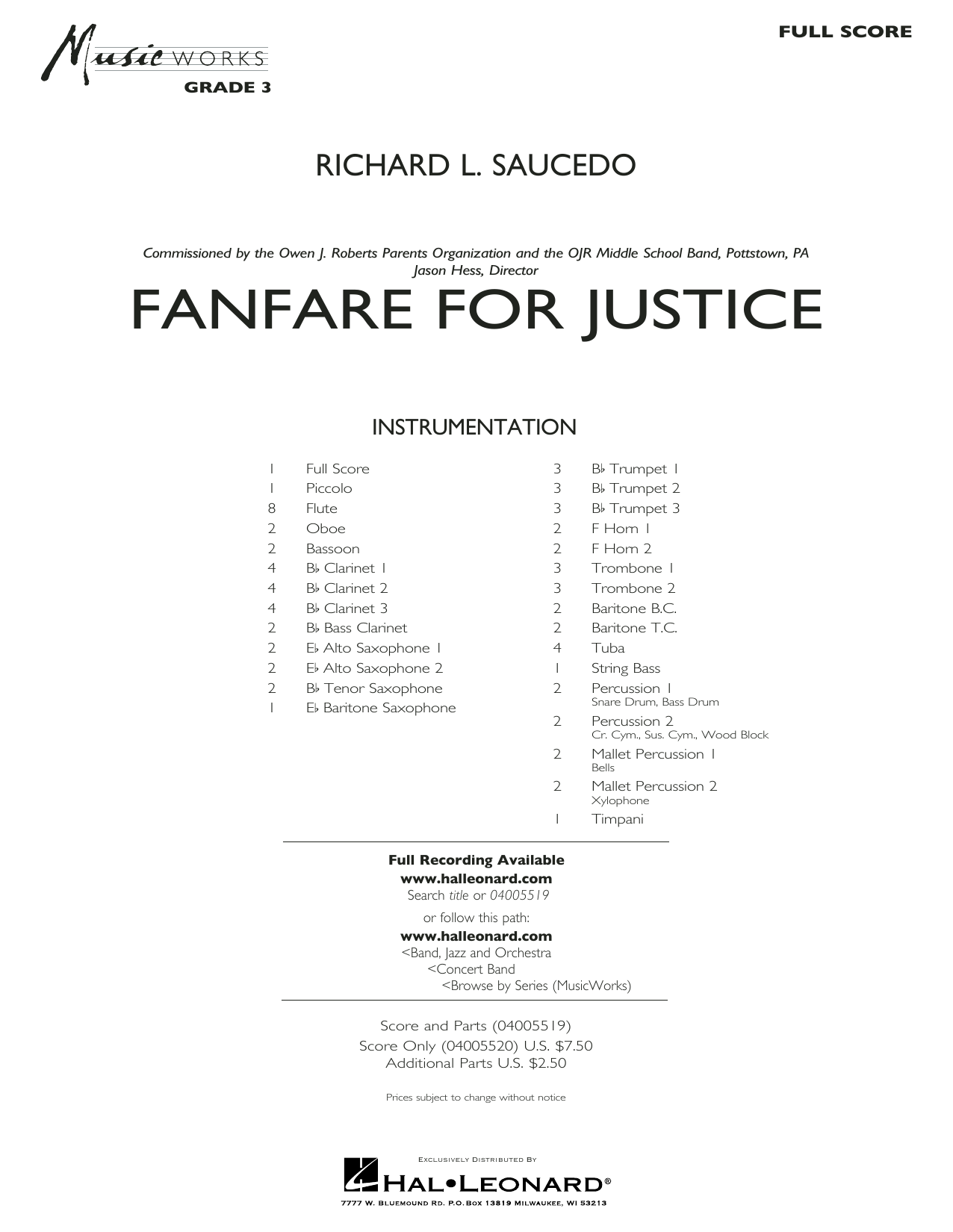 Fanfare for Justice - Conductor Score (Full Score) (Concert Band)