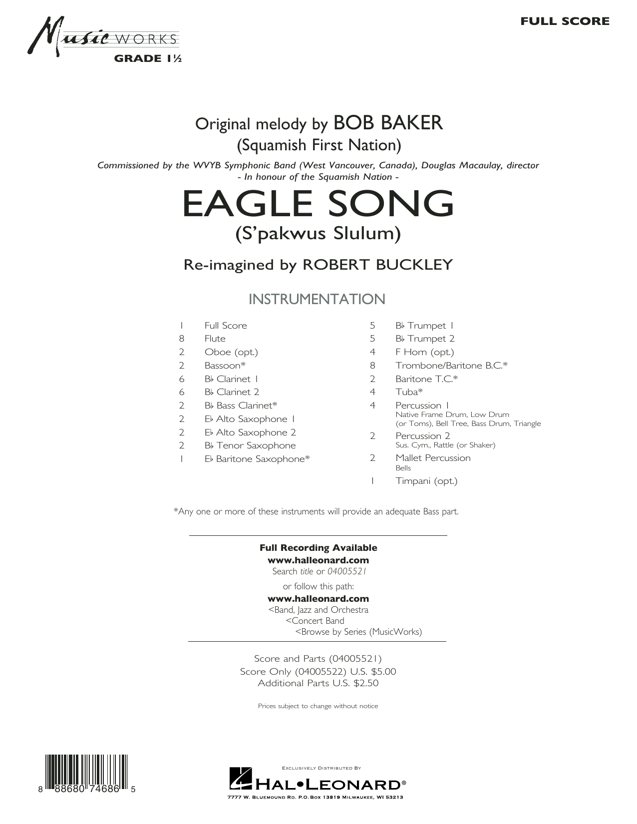 Eagle Song - Conductor Score (Full Score) (Concert Band)