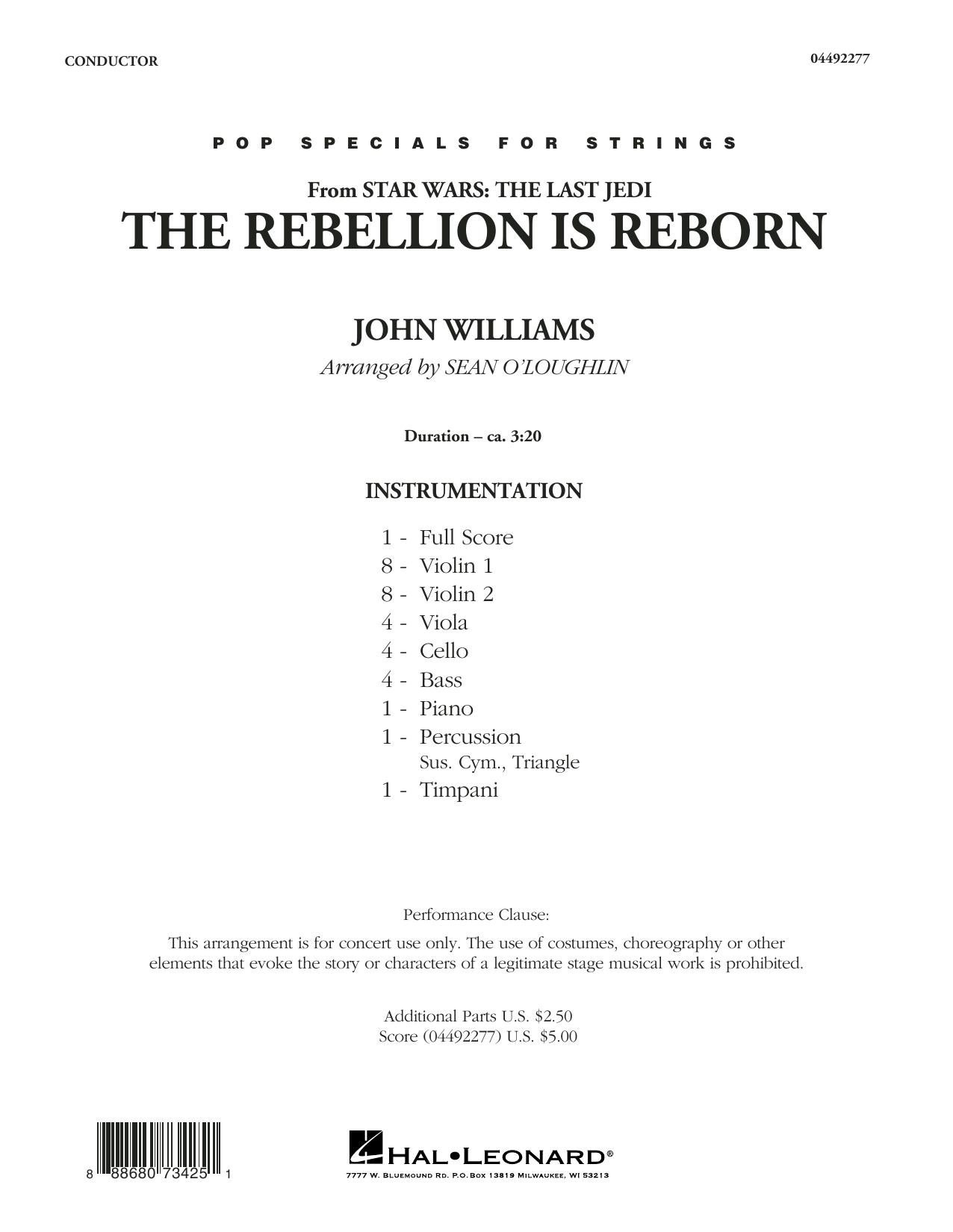 The Rebellion Is Reborn (from Star Wars: The Last Jedi) - Conductor Score (Full Score) (Orchestra)