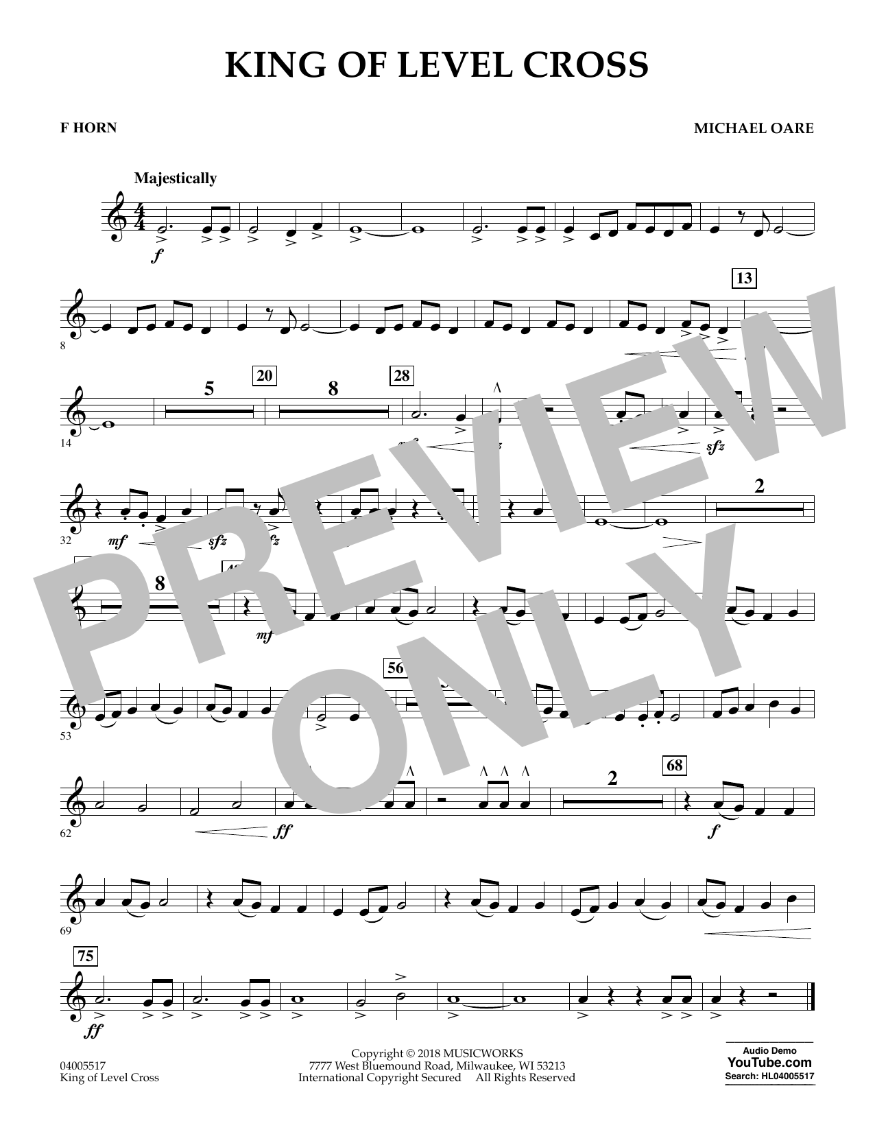 King of Level Cross - F Horn (Concert Band)