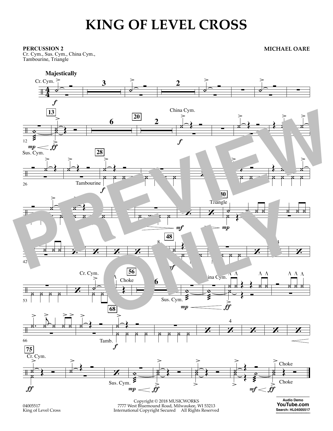 King of Level Cross - Percussion 2 (Concert Band)