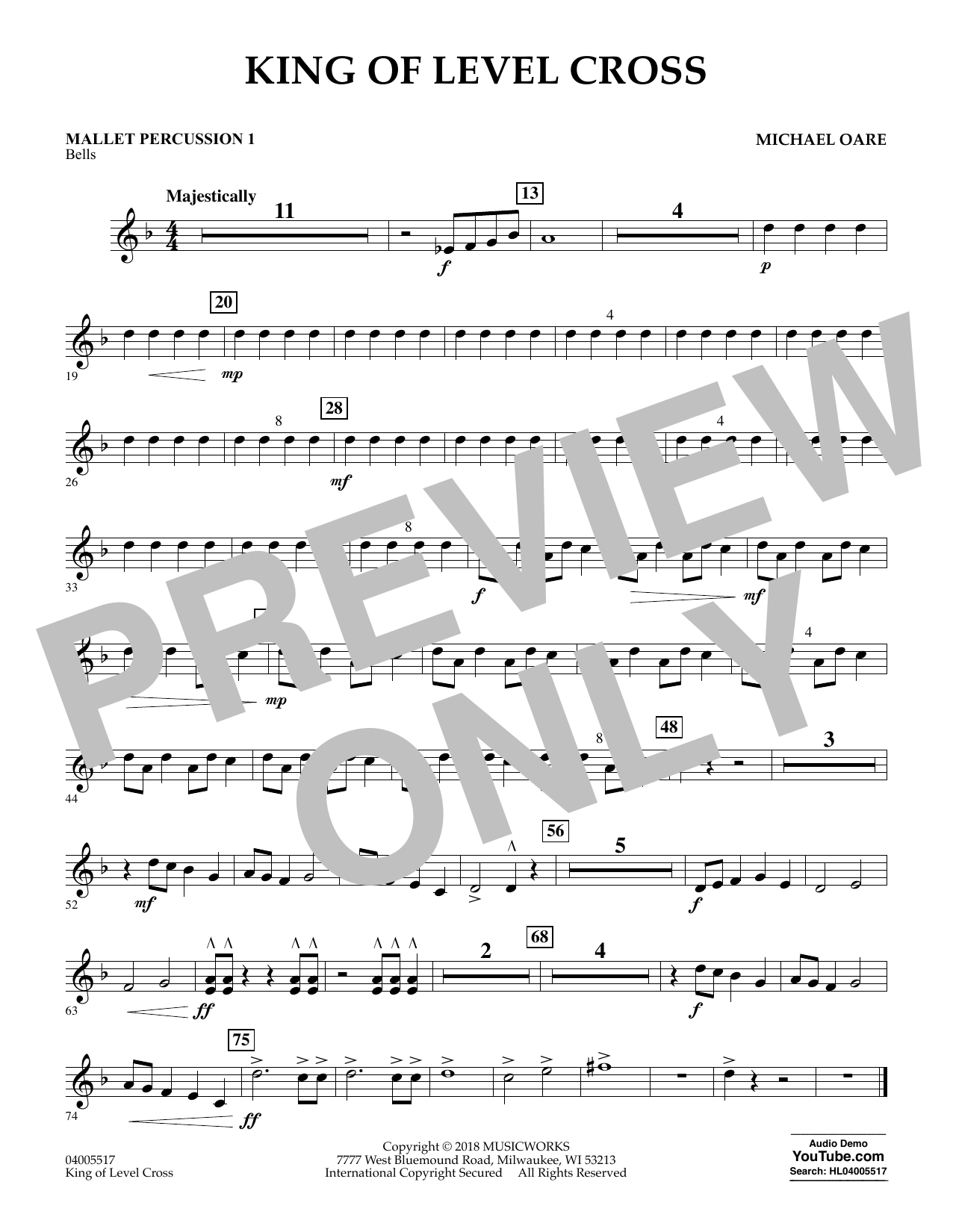 King of Level Cross - Mallet Percussion 1 (Concert Band)