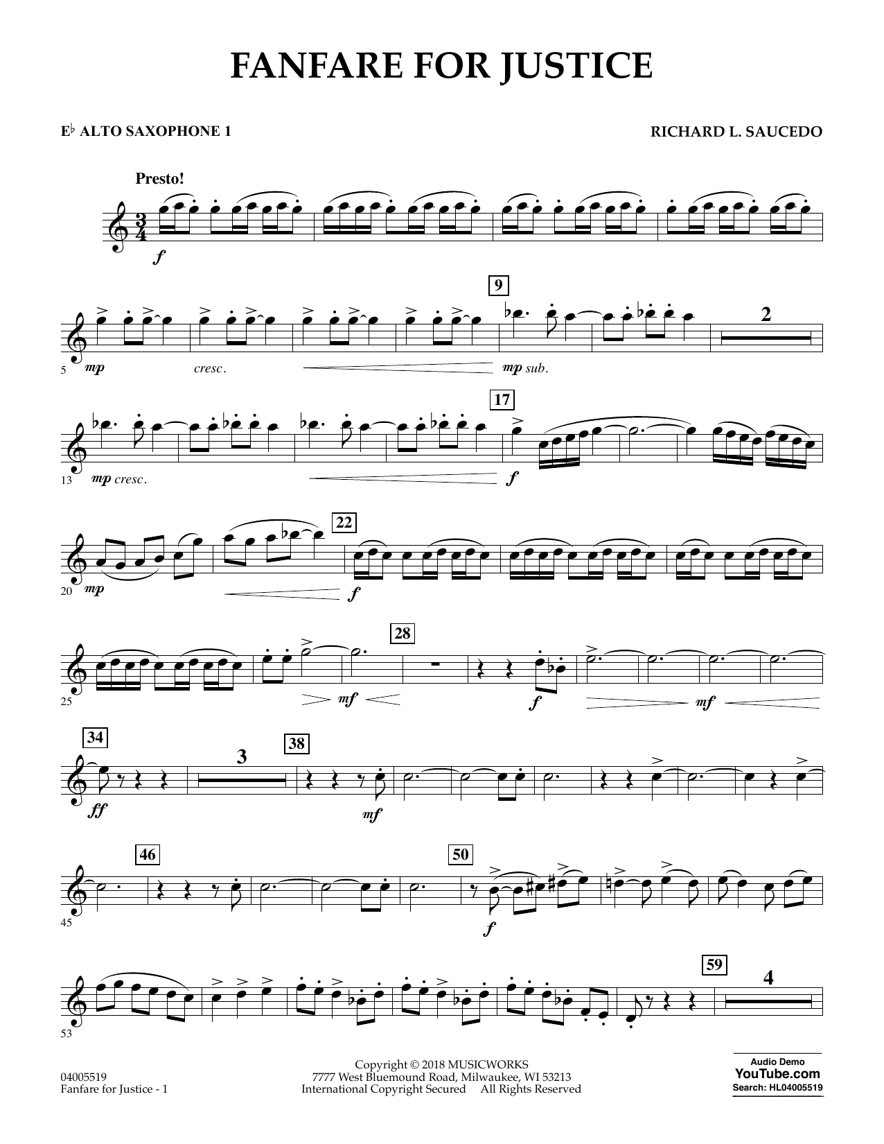 Fanfare for Justice - Eb Alto Saxophone 1 (Concert Band)