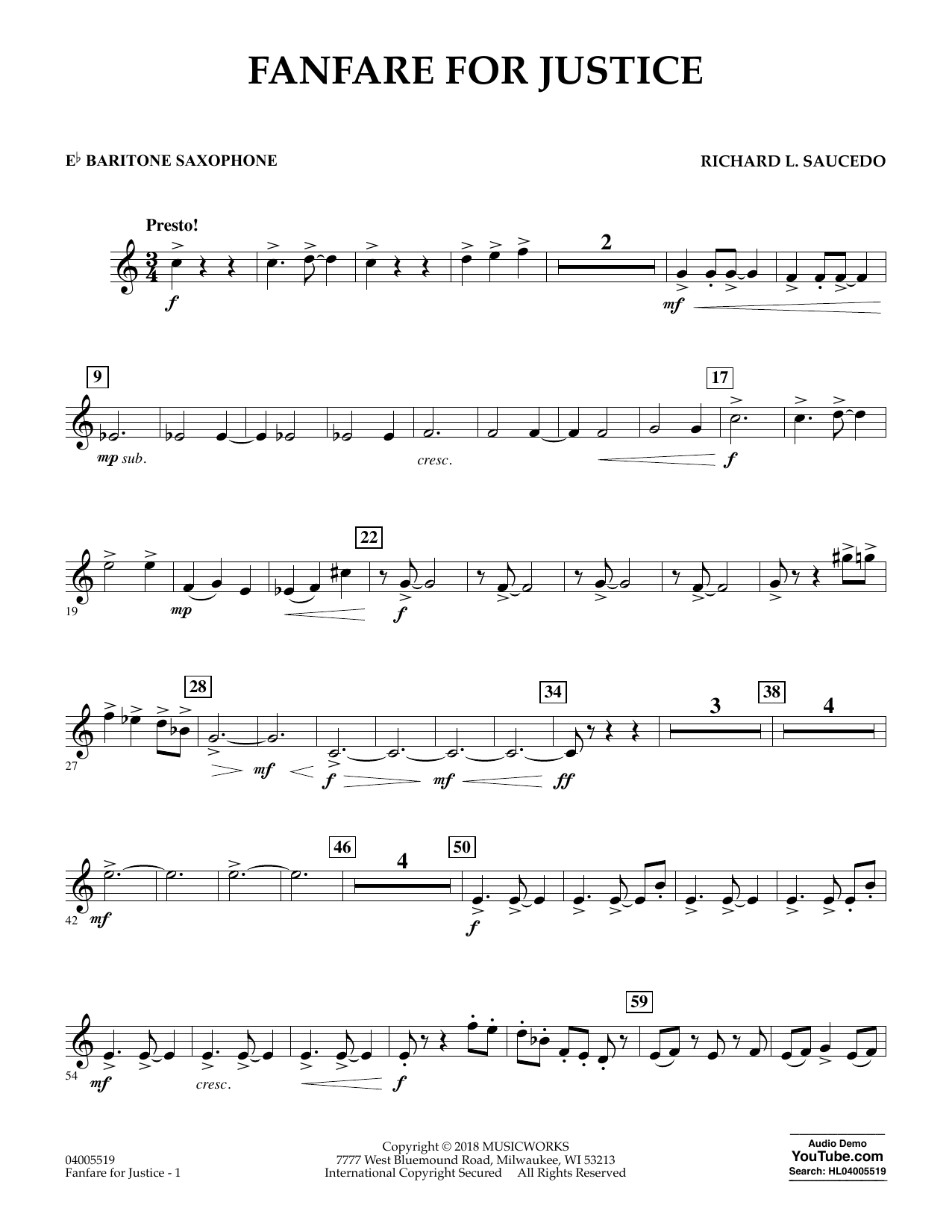 Fanfare for Justice - Eb Baritone Saxophone (Concert Band)
