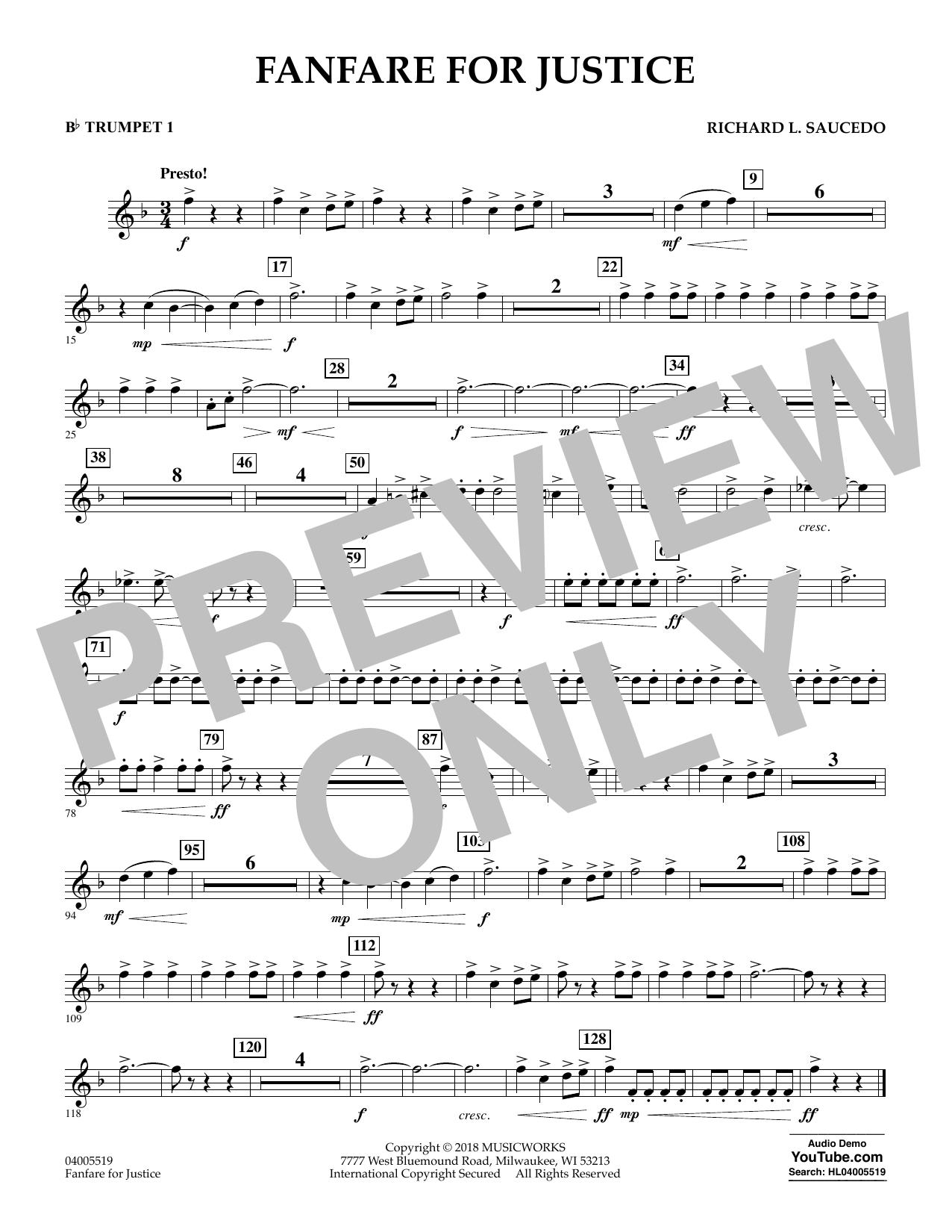 Fanfare for Justice - Bb Trumpet 1 (Concert Band)
