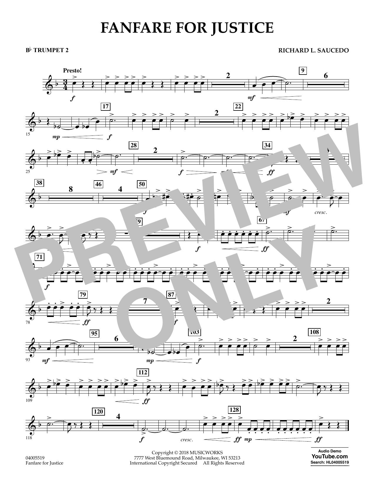 Fanfare for Justice - Bb Trumpet 2 (Concert Band)