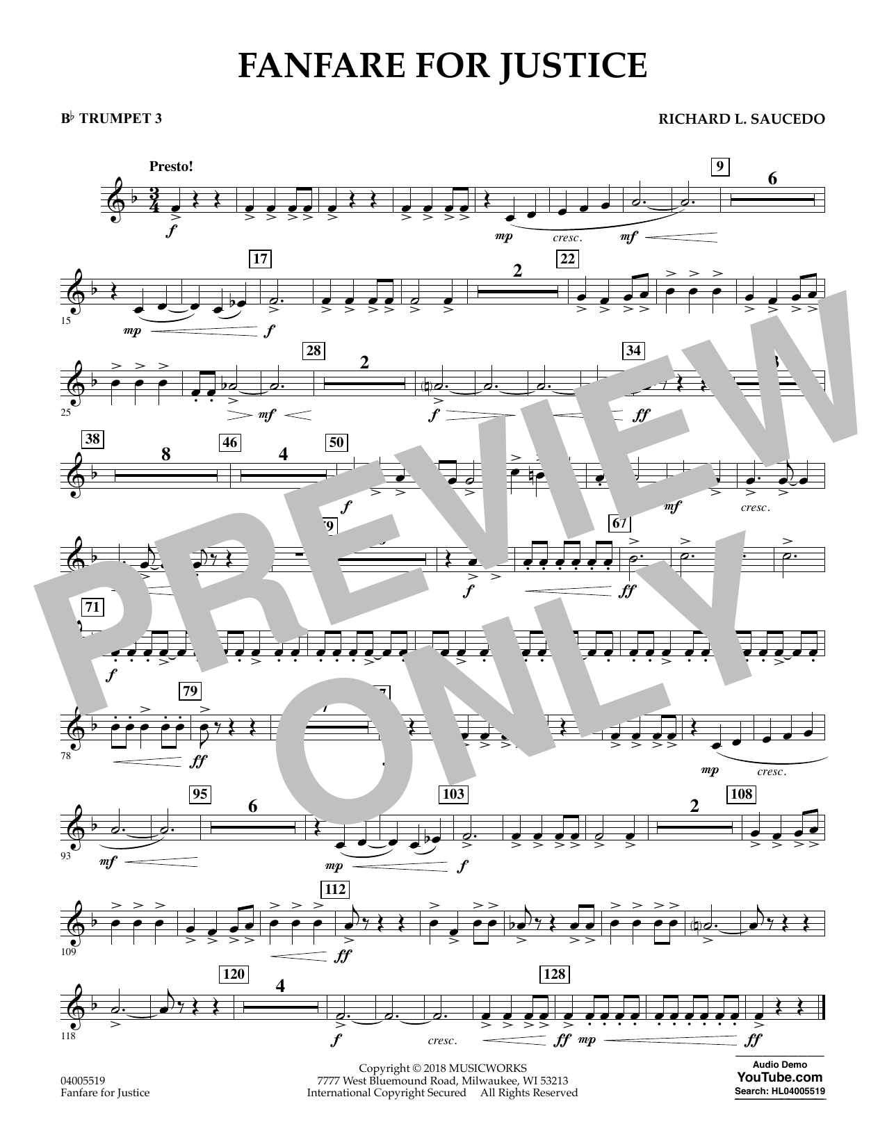 Fanfare for Justice - Bb Trumpet 3 (Concert Band)