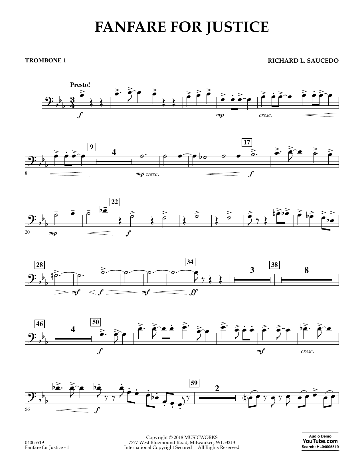 Fanfare for Justice - Trombone 1 (Concert Band)