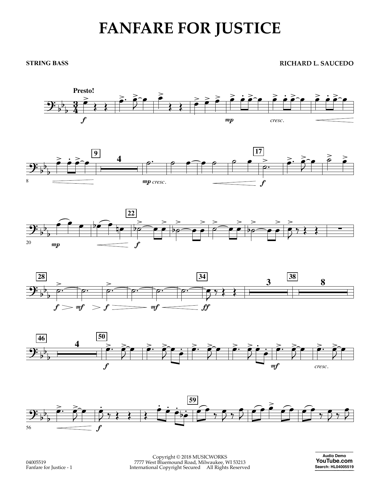 Fanfare for Justice - String Bass (Concert Band)