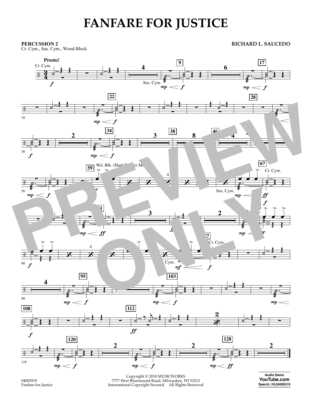 Fanfare for Justice - Percussion 2 (Concert Band)