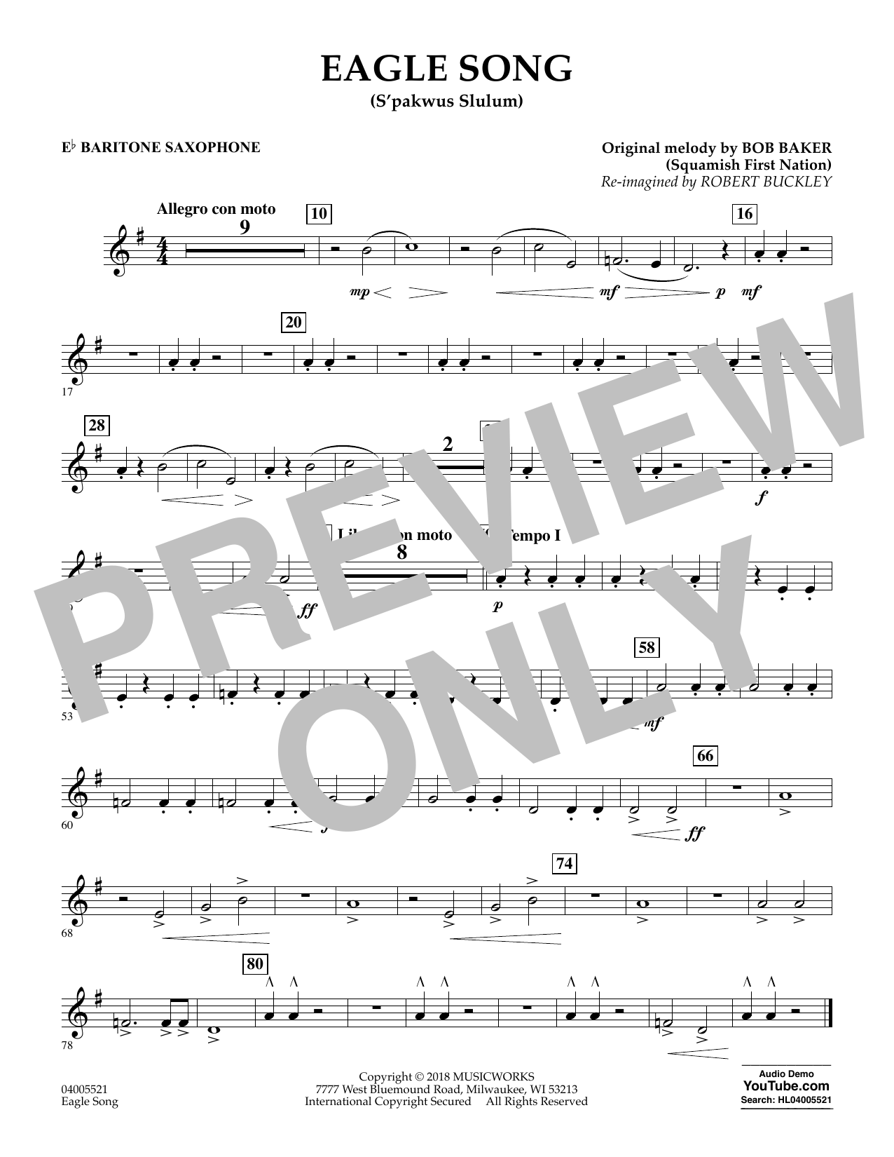 Eagle Song - Eb Baritone Saxophone (Concert Band)