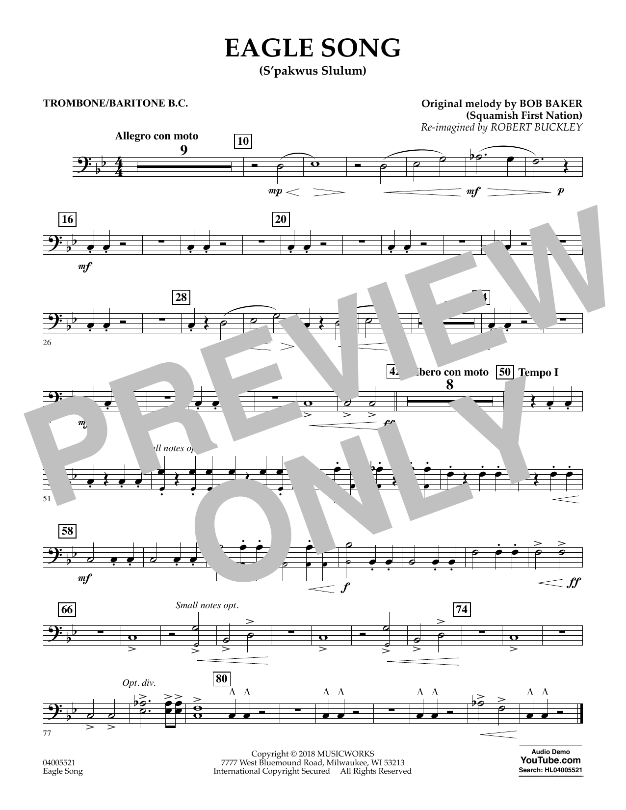 Eagle Song - Trombone/Baritone B.C. (Concert Band)