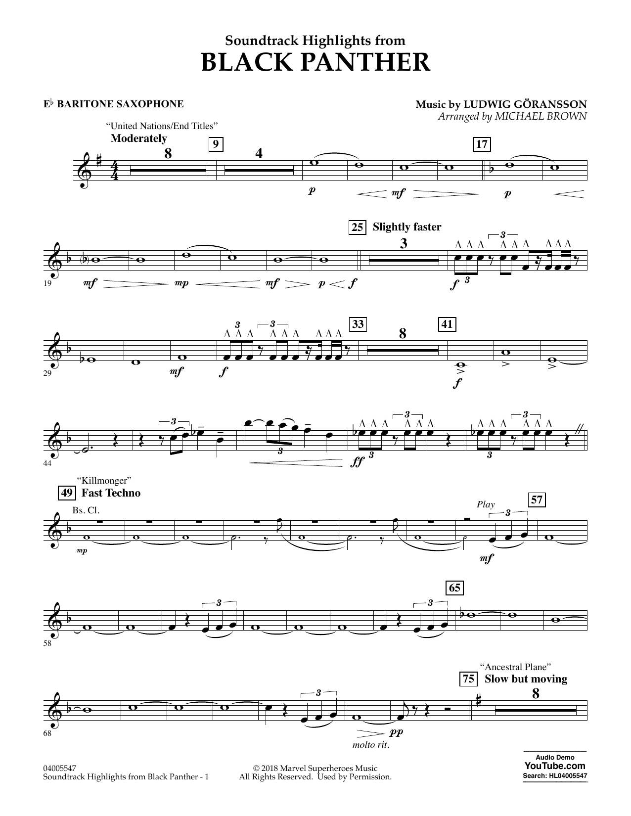 Soundtrack Highlights from Black Panther - Eb Baritone Saxophone (Concert Band)