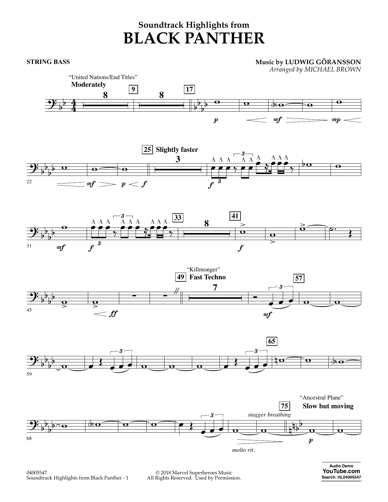 Soundtrack Highlights from Black Panther - String Bass (Concert Band)