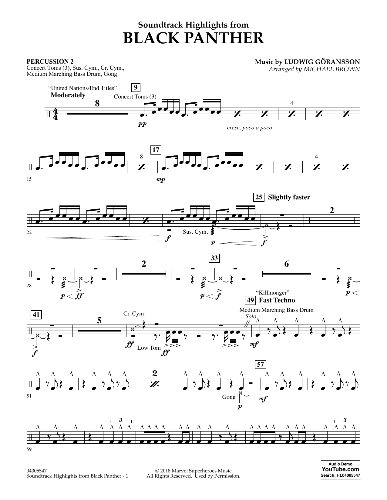 Soundtrack Highlights from Black Panther - Percussion 2 (Concert Band)