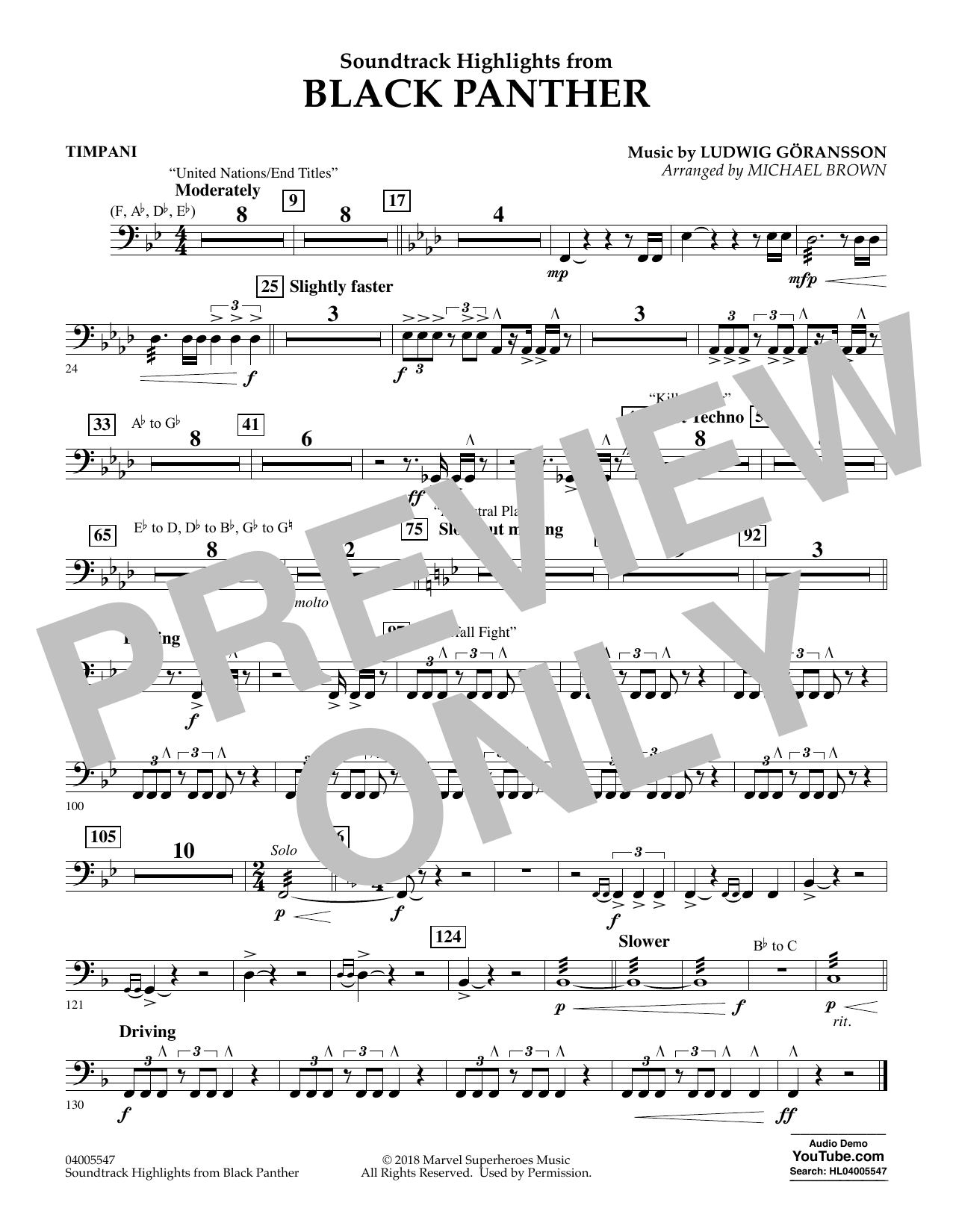 Soundtrack Highlights from Black Panther - Timpani (Concert Band)