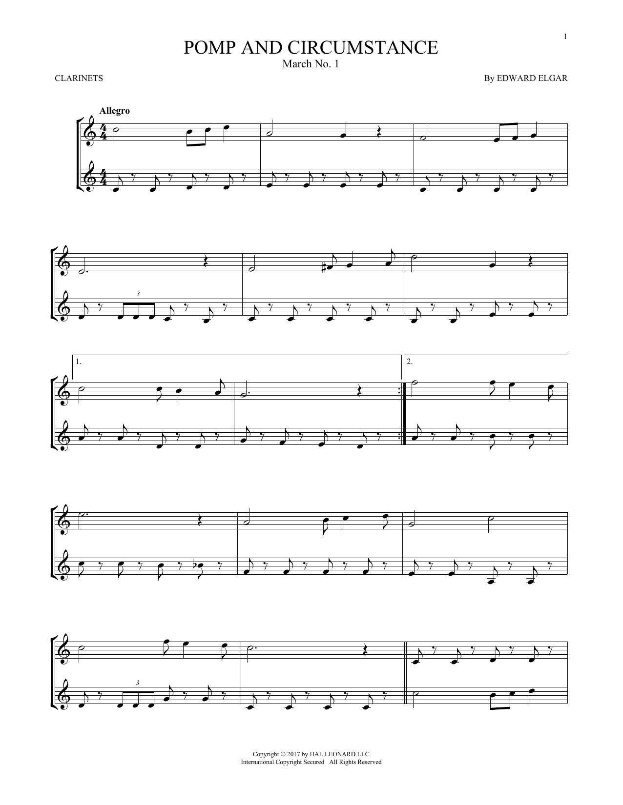 Pomp And Circumstance, March No. 1 (Clarinet Duet)