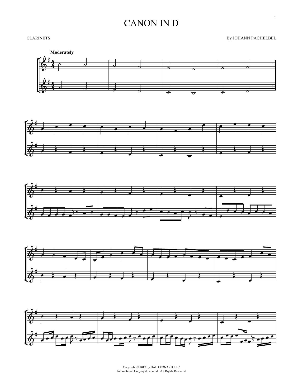Canon In D (Clarinet Duet)