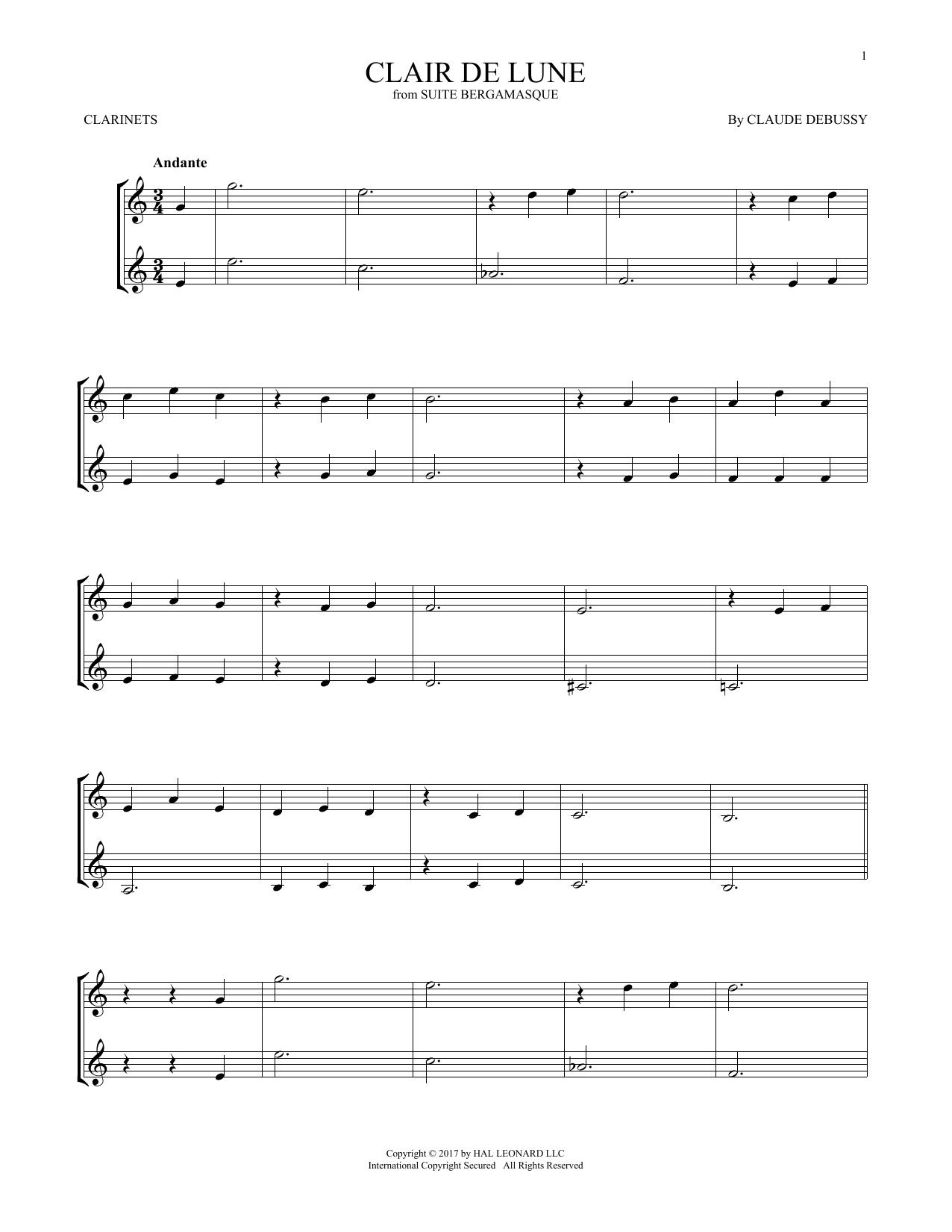 Clair De Lune (Clarinet Duet)