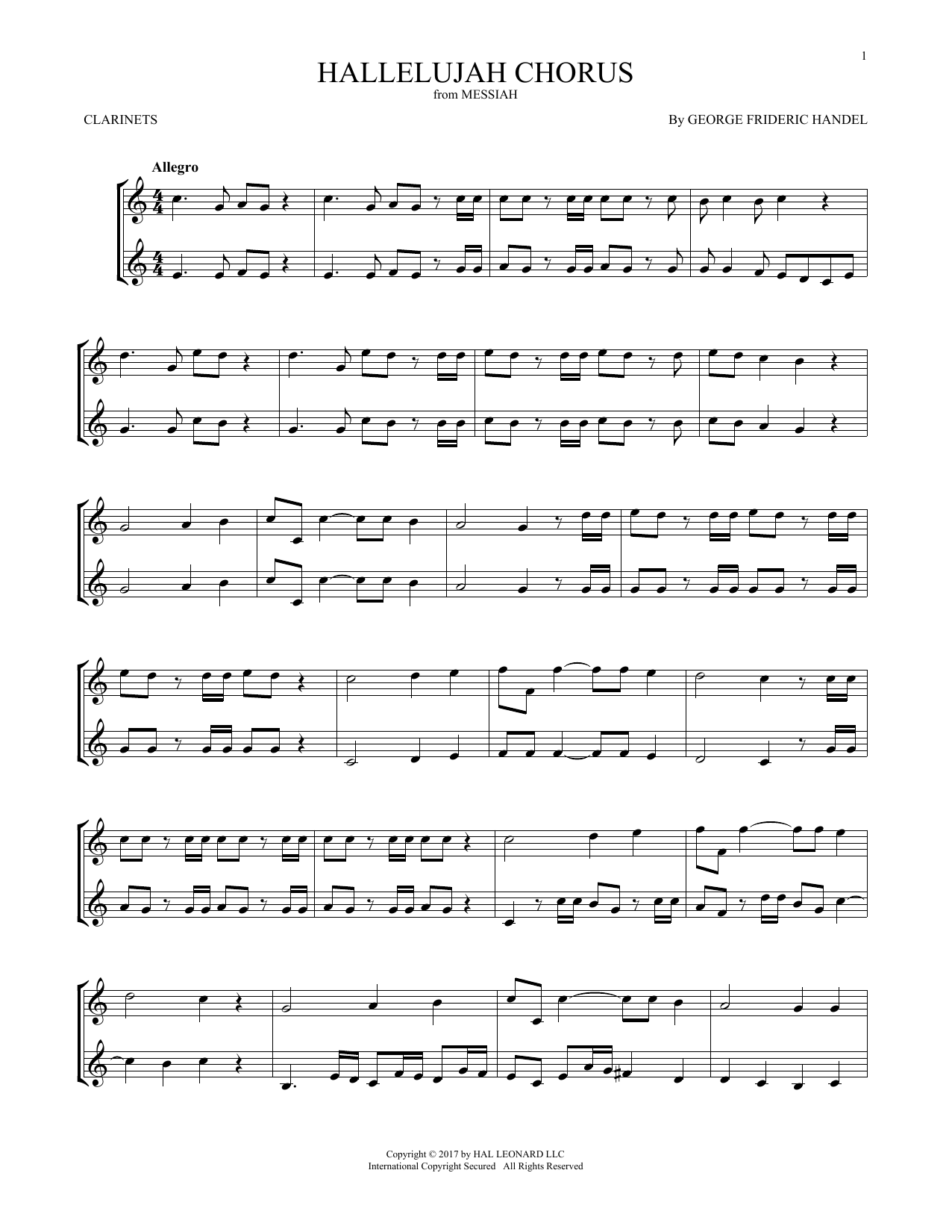 Hallelujah Chorus (Clarinet Duet)